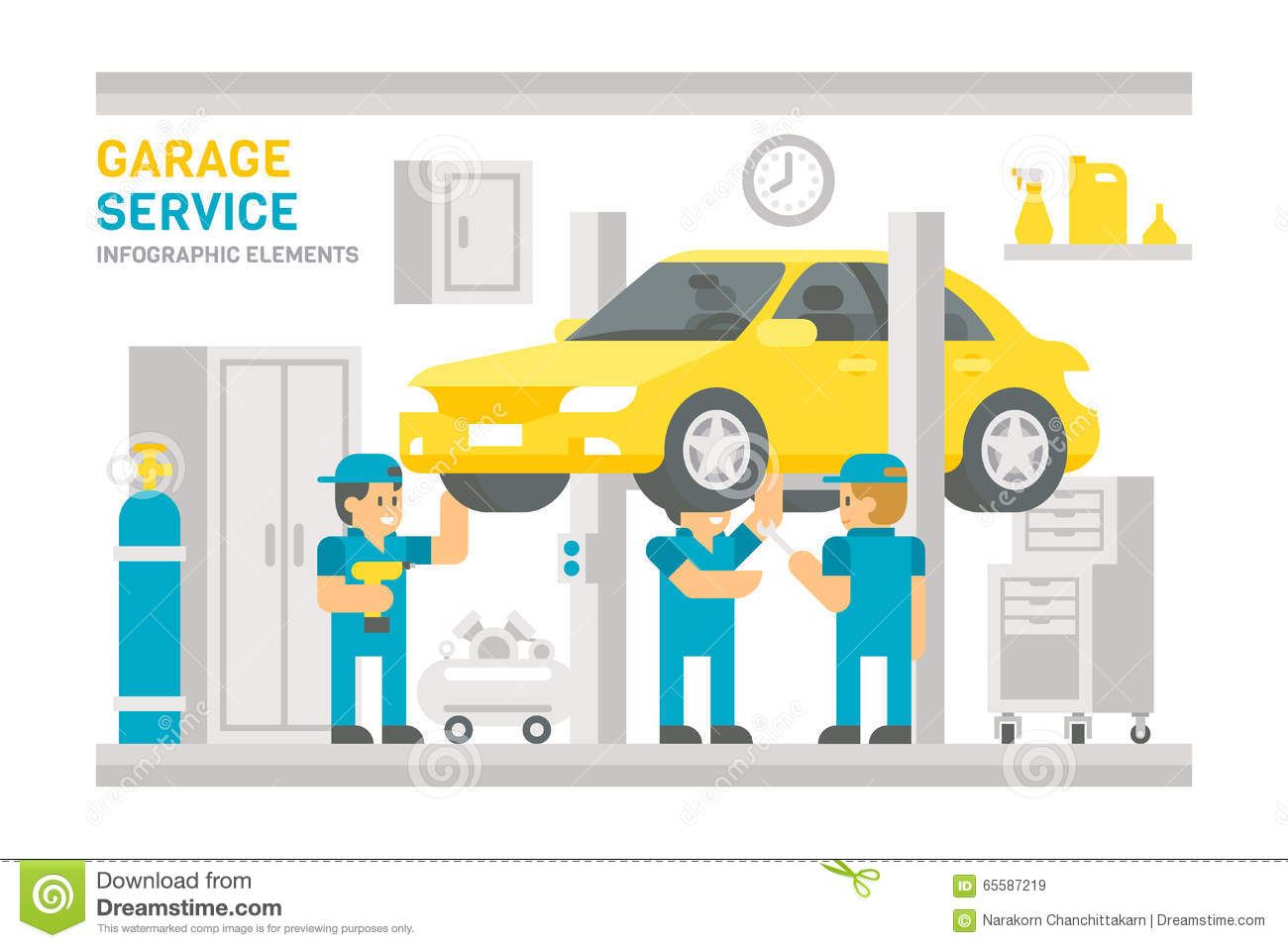 flat design garage service infographic stock vector image 65587219 design flat garage illustration