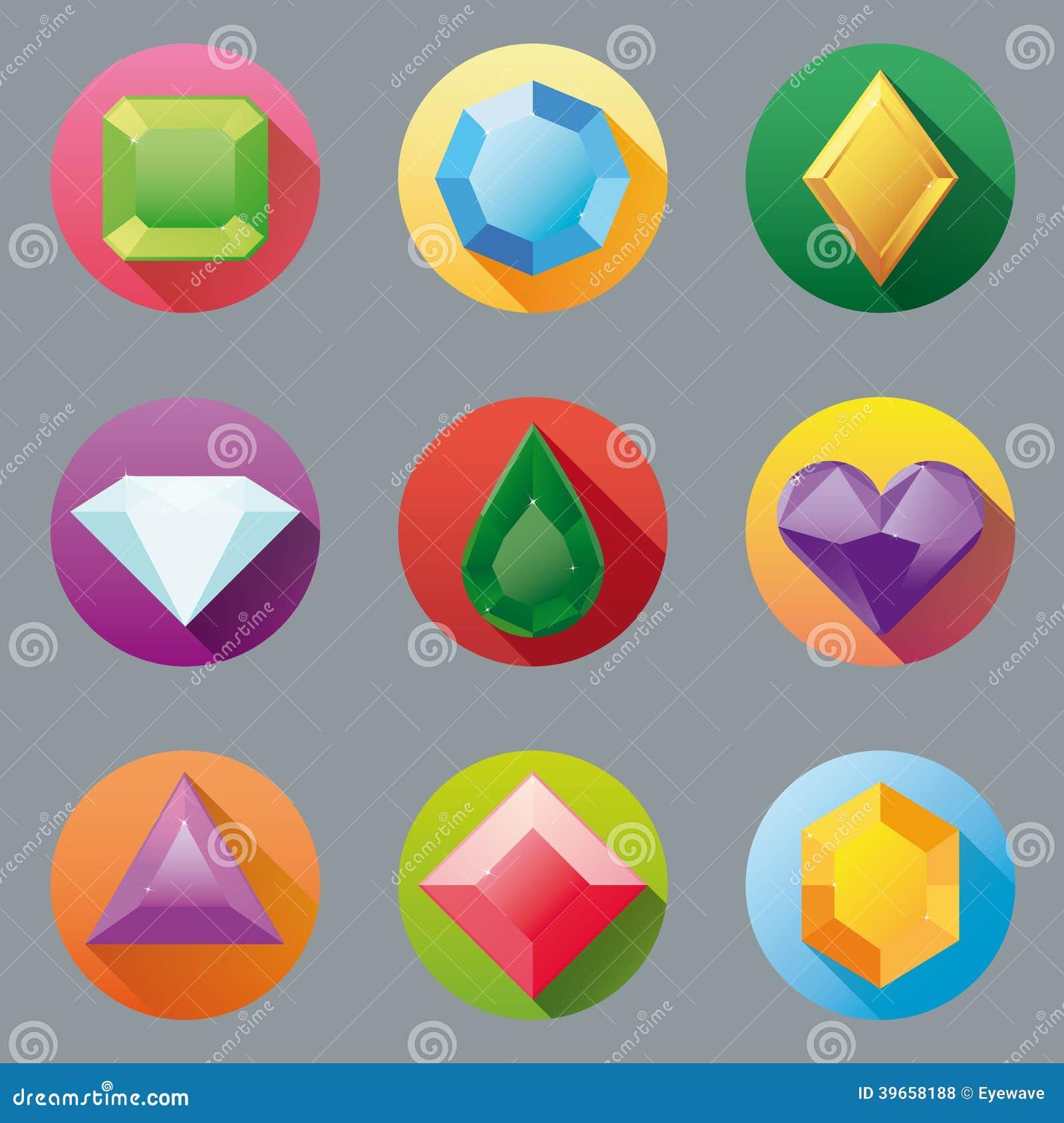Flat Design Gem Icon Collection Stock Photo Image 39658188