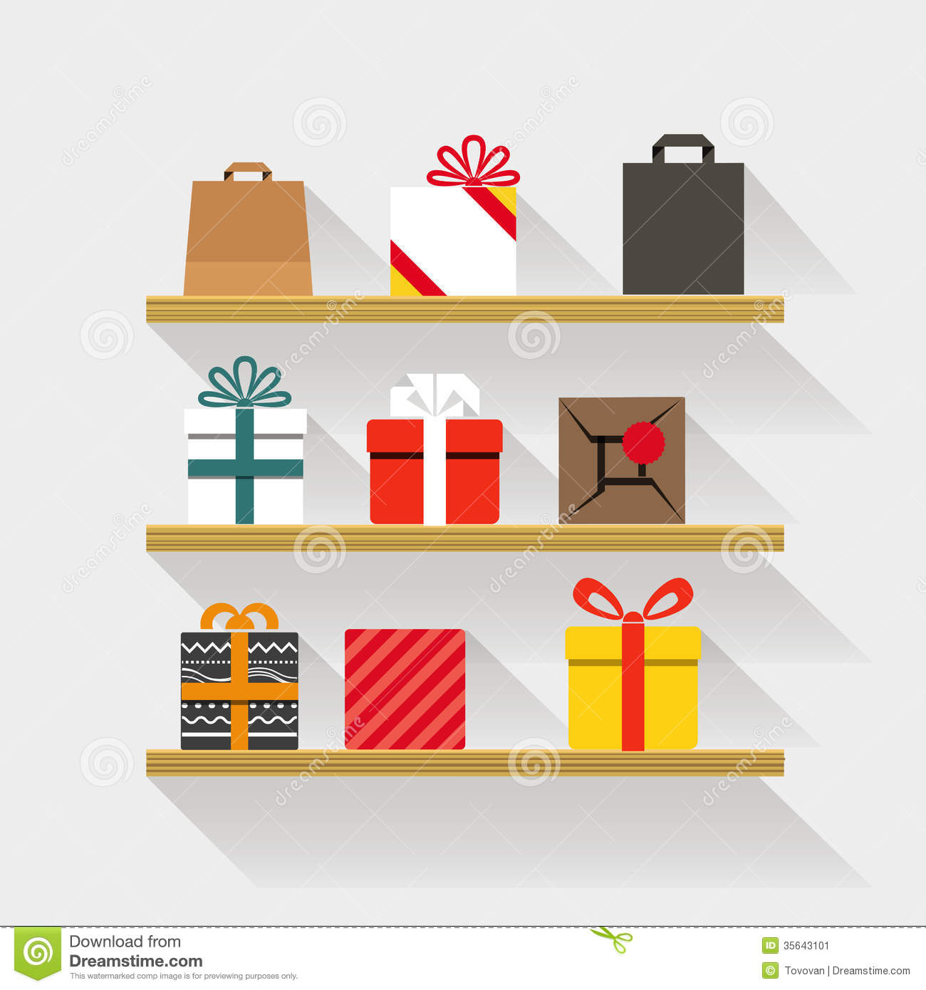 flat design gifts on book shelves stock image  image  - book content design