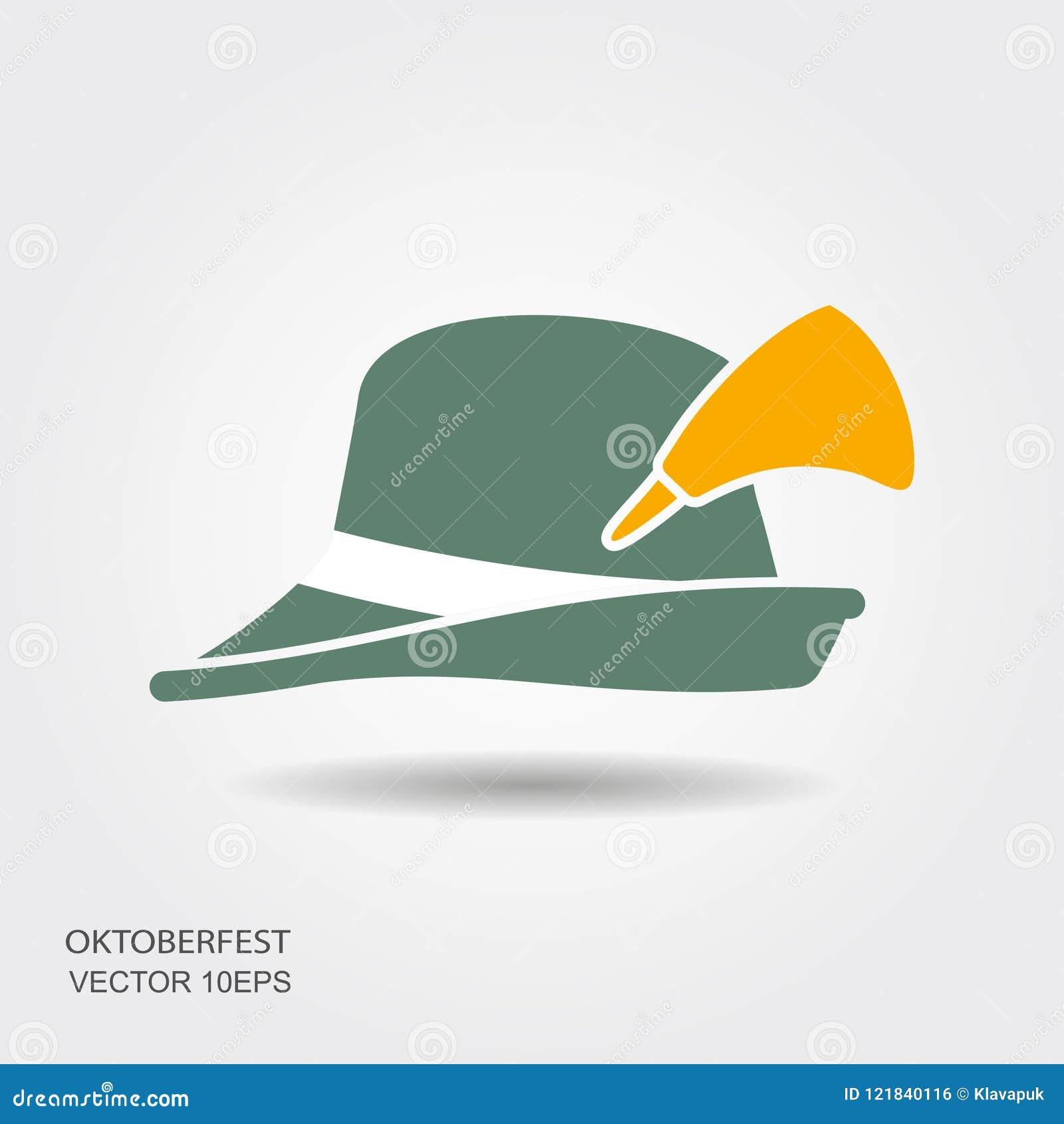10e0ffc94e6 Flat Design Green Oktoberfest Hat On White Background Stock Vector ...