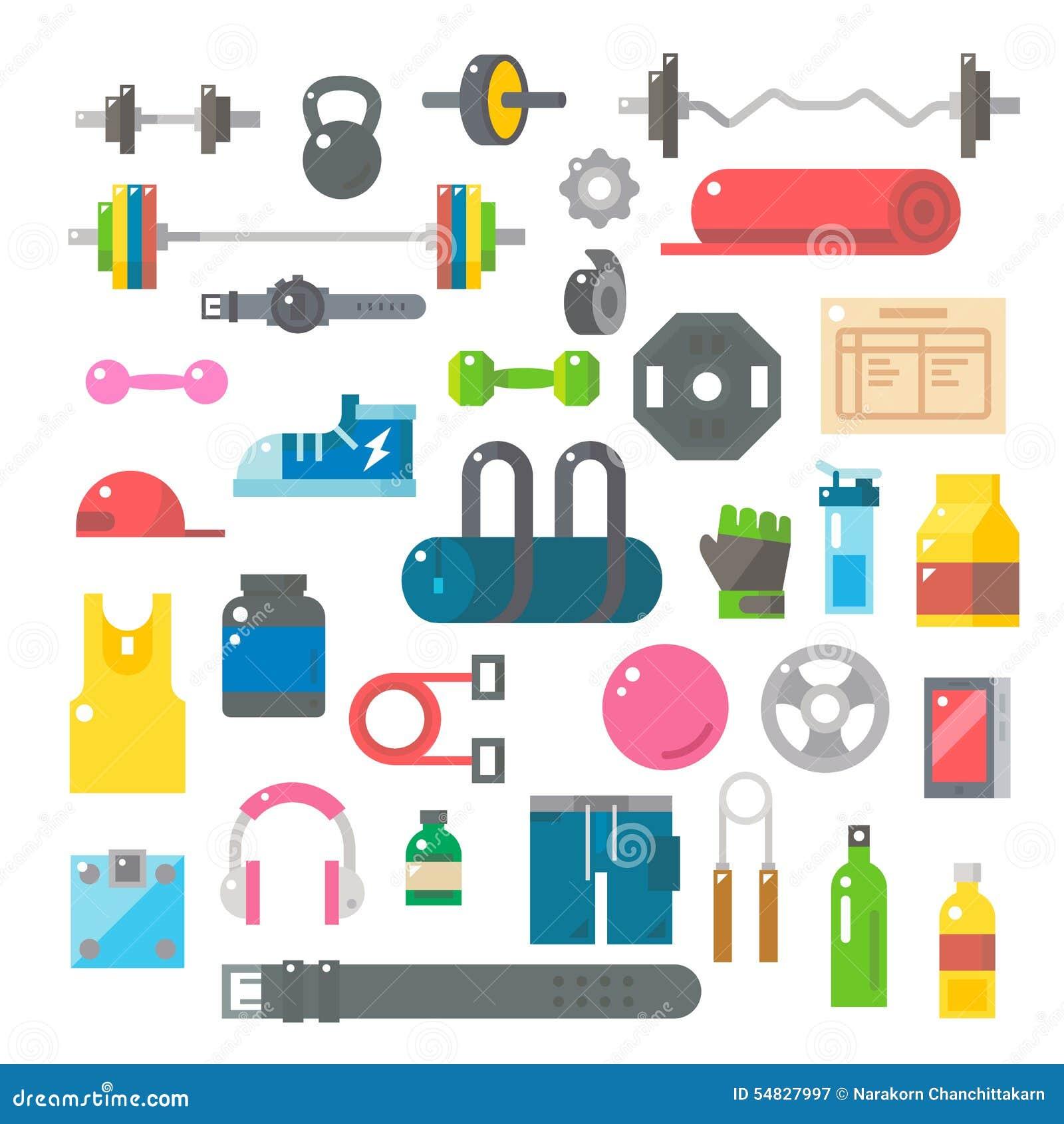 Flat design of gym items set stock vector illustration for Articulos para gimnasio