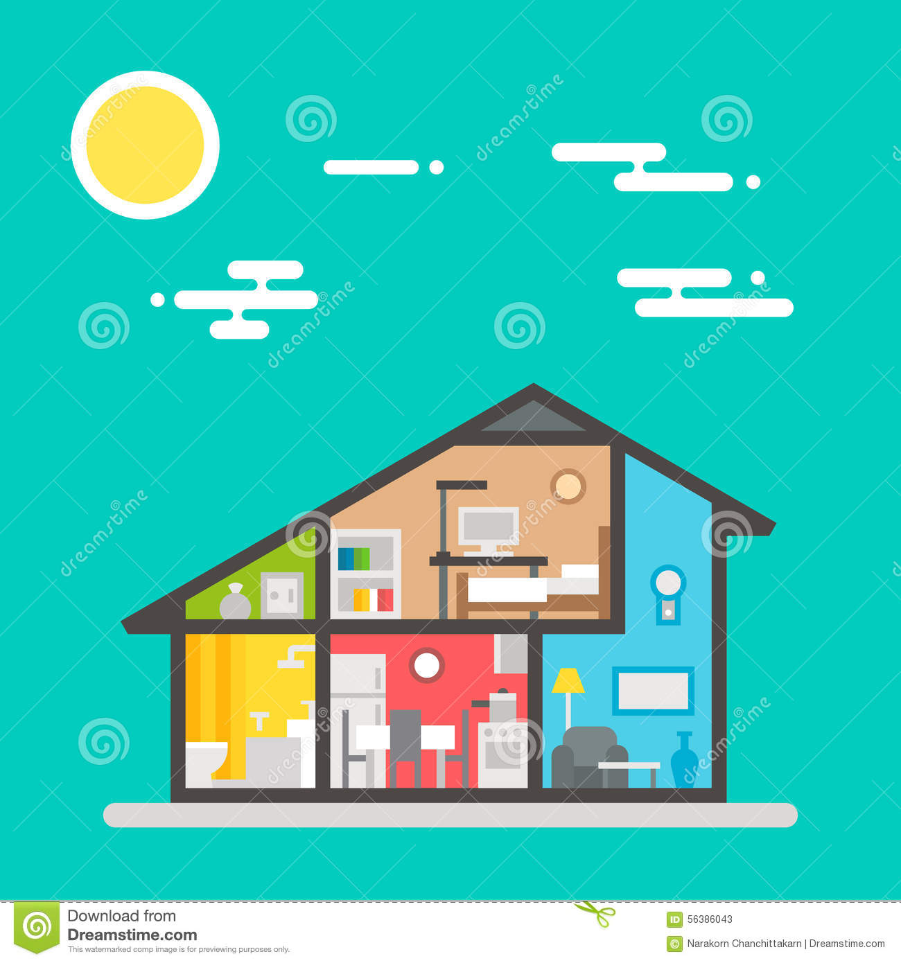 Flat Design Of House Interior Stock Vector Illustration Of Room Color 56386043
