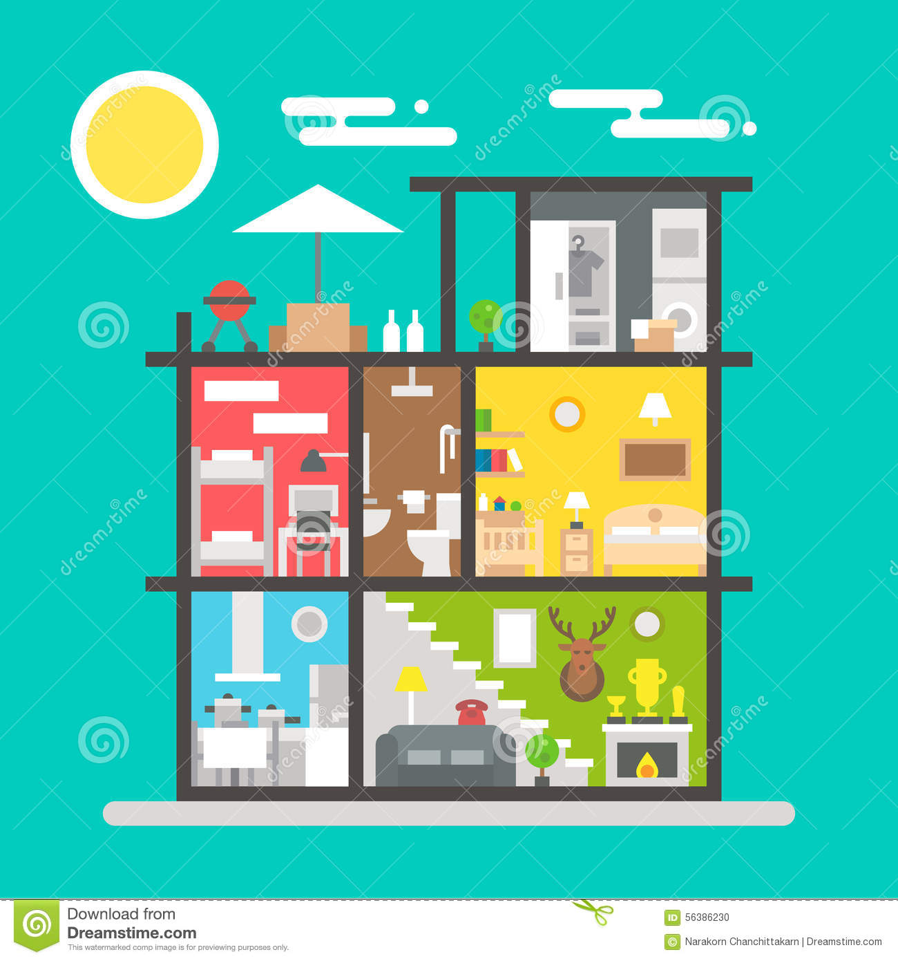 Flat Design Of House Interior Stock Vector