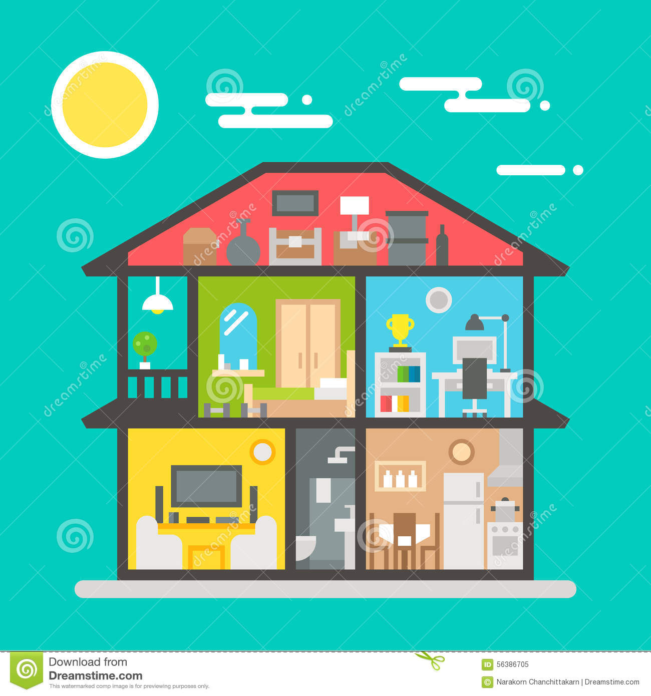 Flat design of house interior stock vector image 56386705