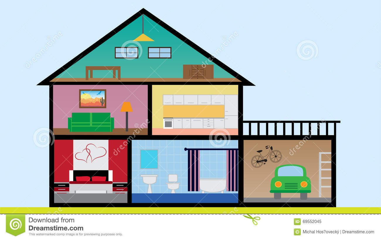 Flat Design House With Rooms, Bedroom, Living Root, Bathroom, Garage, Kitchen And Loft Stock ...