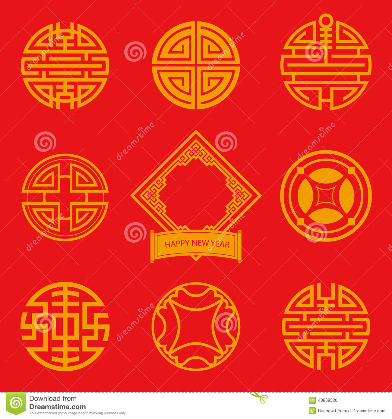 Chinese Calendar Illustration : Flat design icon of chinese art for new year stock