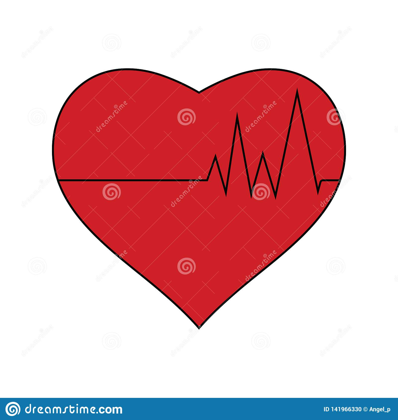 Flat Design Icon Of Heart With Cardio Diagram Stock Vector ...