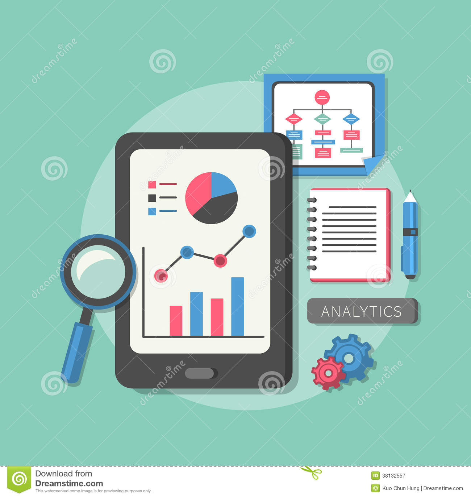 Flat design icon set of analytics elements