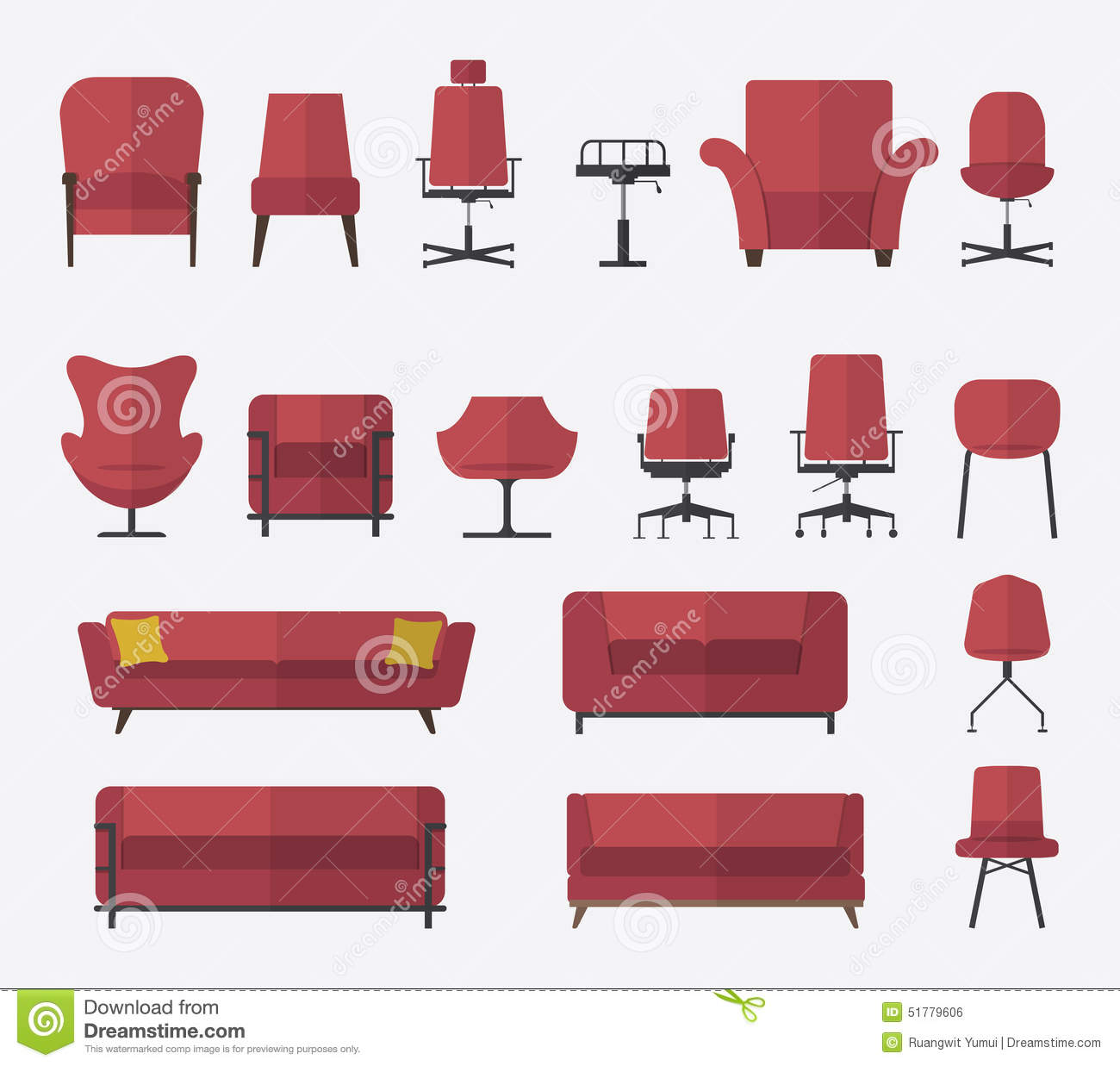 Flat Design Icon Set Of Chair And Sofa In Marsala Color