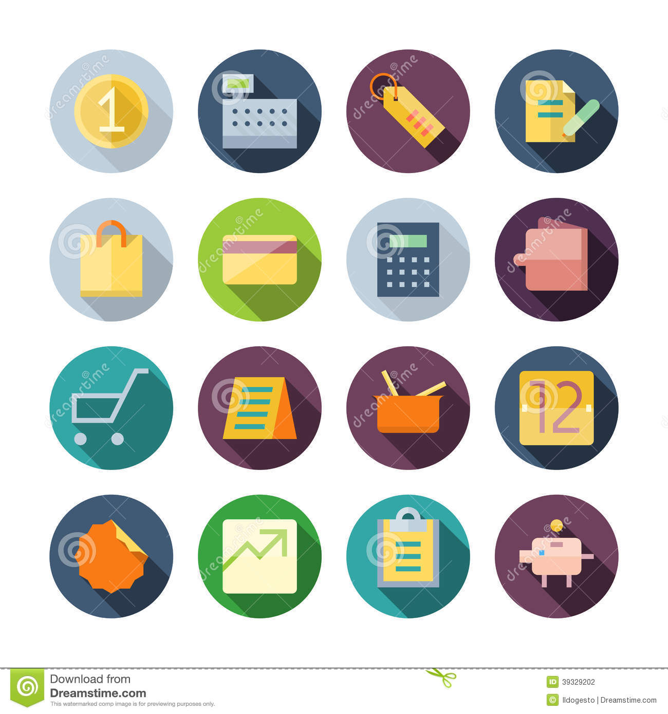 Flat Design Icons For Business and Retail