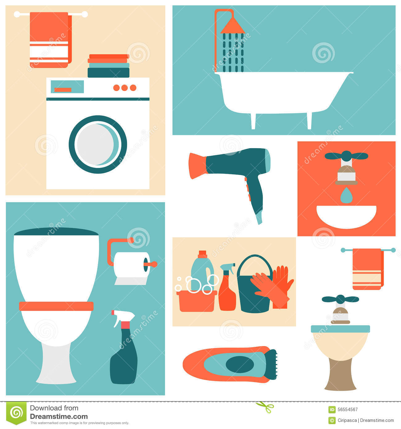 Flat Design Icons On A Theme Of Bathroom, Toilet Stock ...