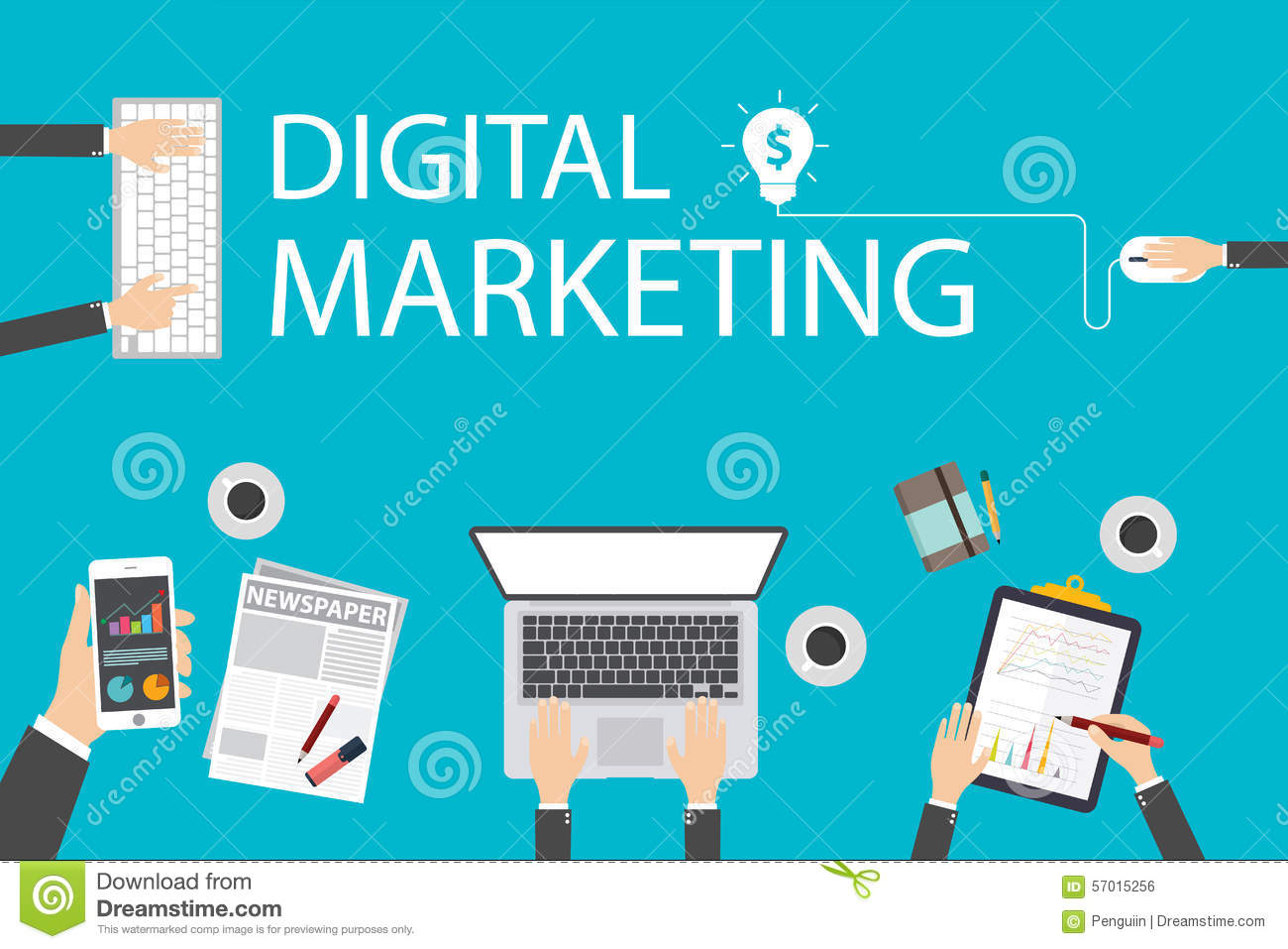 Flat design illustration concept for digital marketing. Concept for web banner