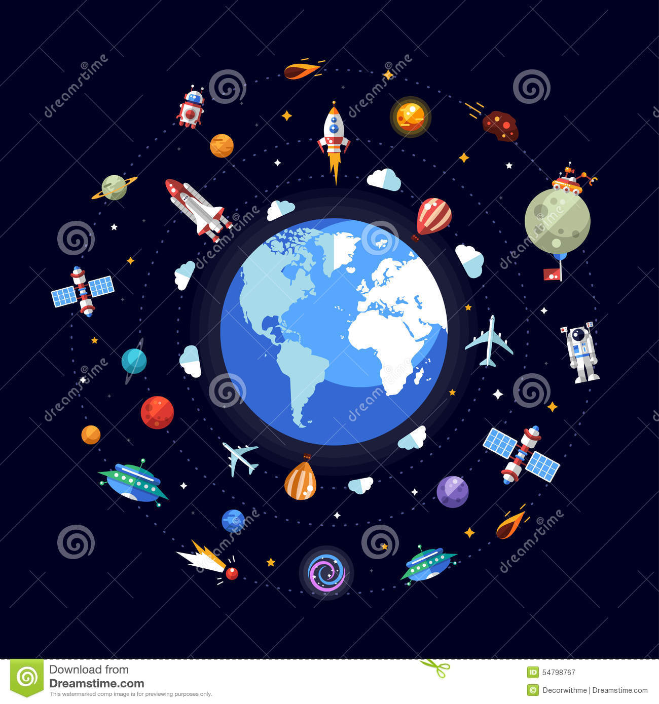 flat design illustration of earth with space icons stock vector