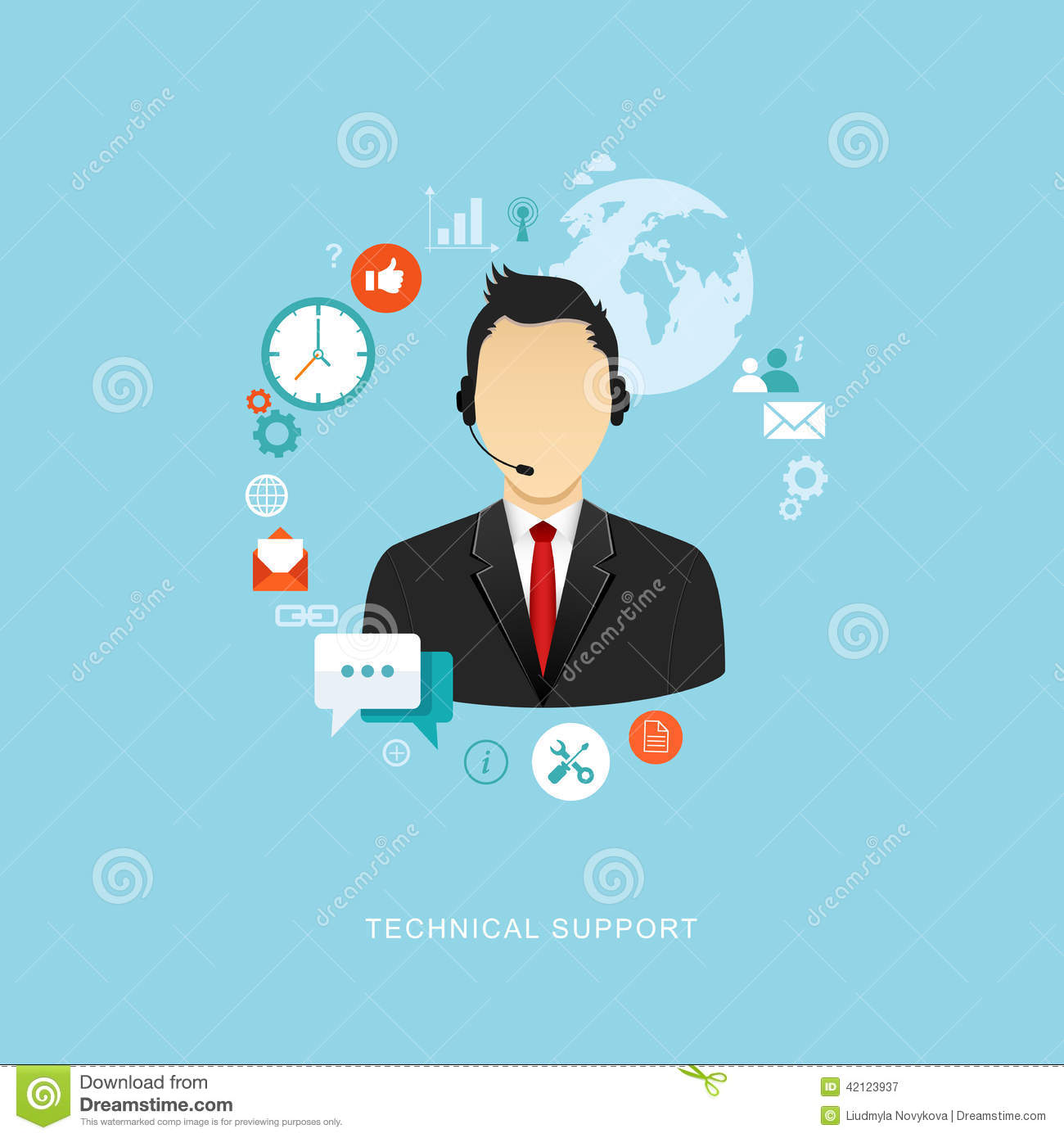 Flat Design Illustration With Icons  Technical Support