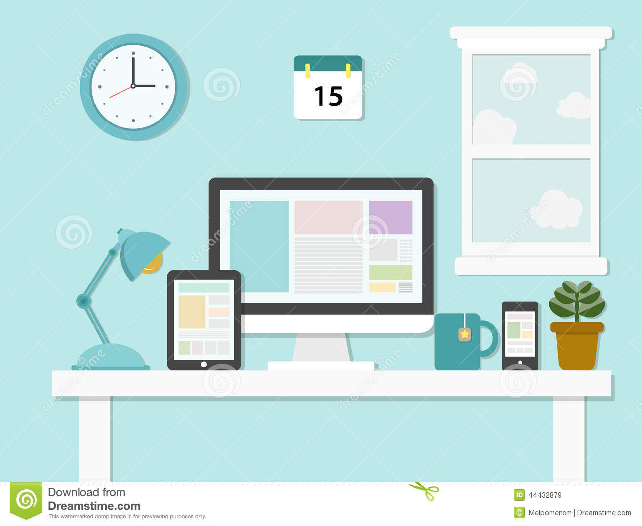 Flat Design Illustration Of Modern Office Stock Vector