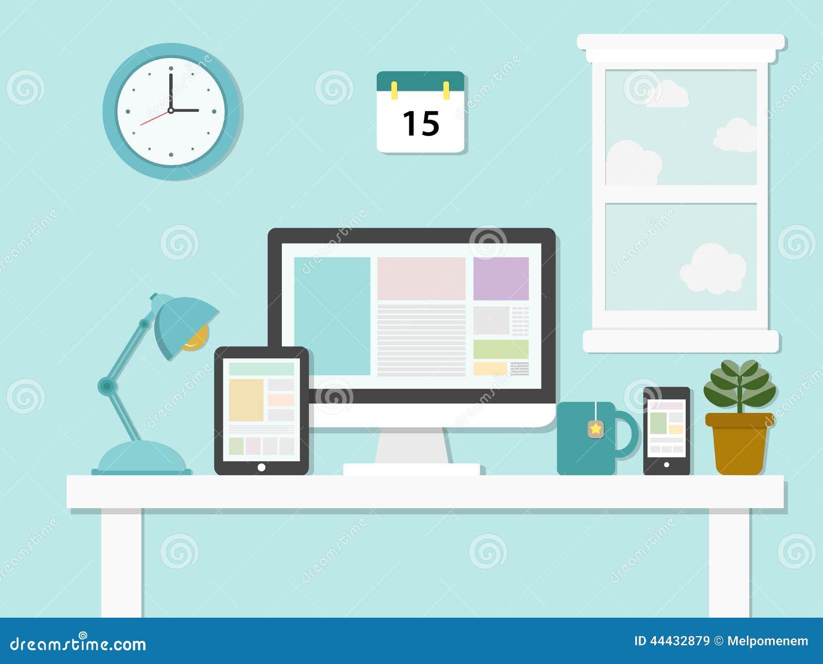 Flat Design Illustration Of Modern Office Stock Vector ...