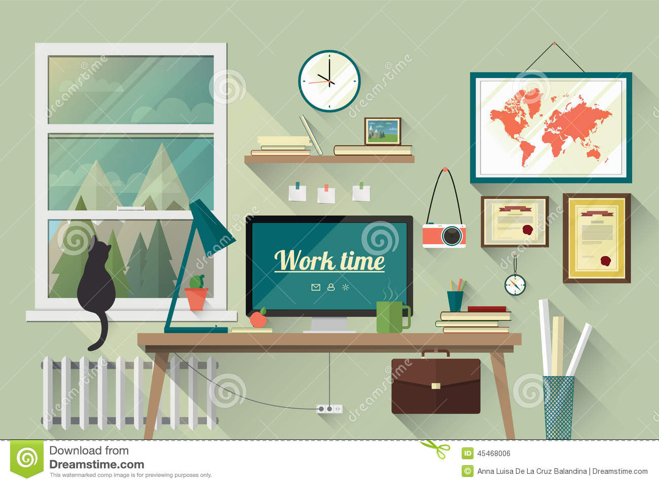 Flat design illustration of the modern workplace stock for Decorate my flat