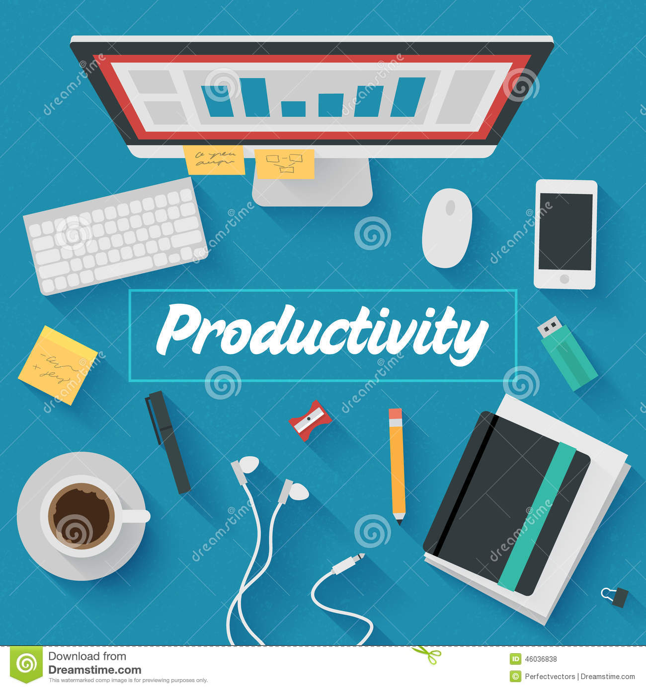Flat design illustration productive office workplace for Office design productivity research
