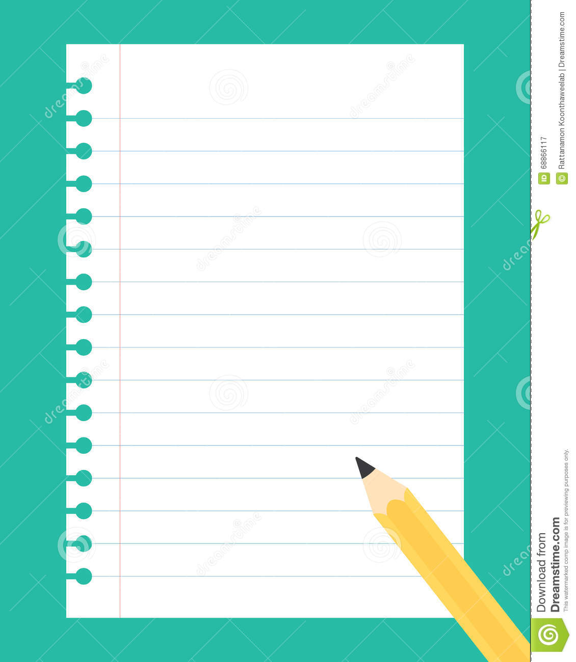 Flat Design Illustration Of White Notebook Paper Sheet ...