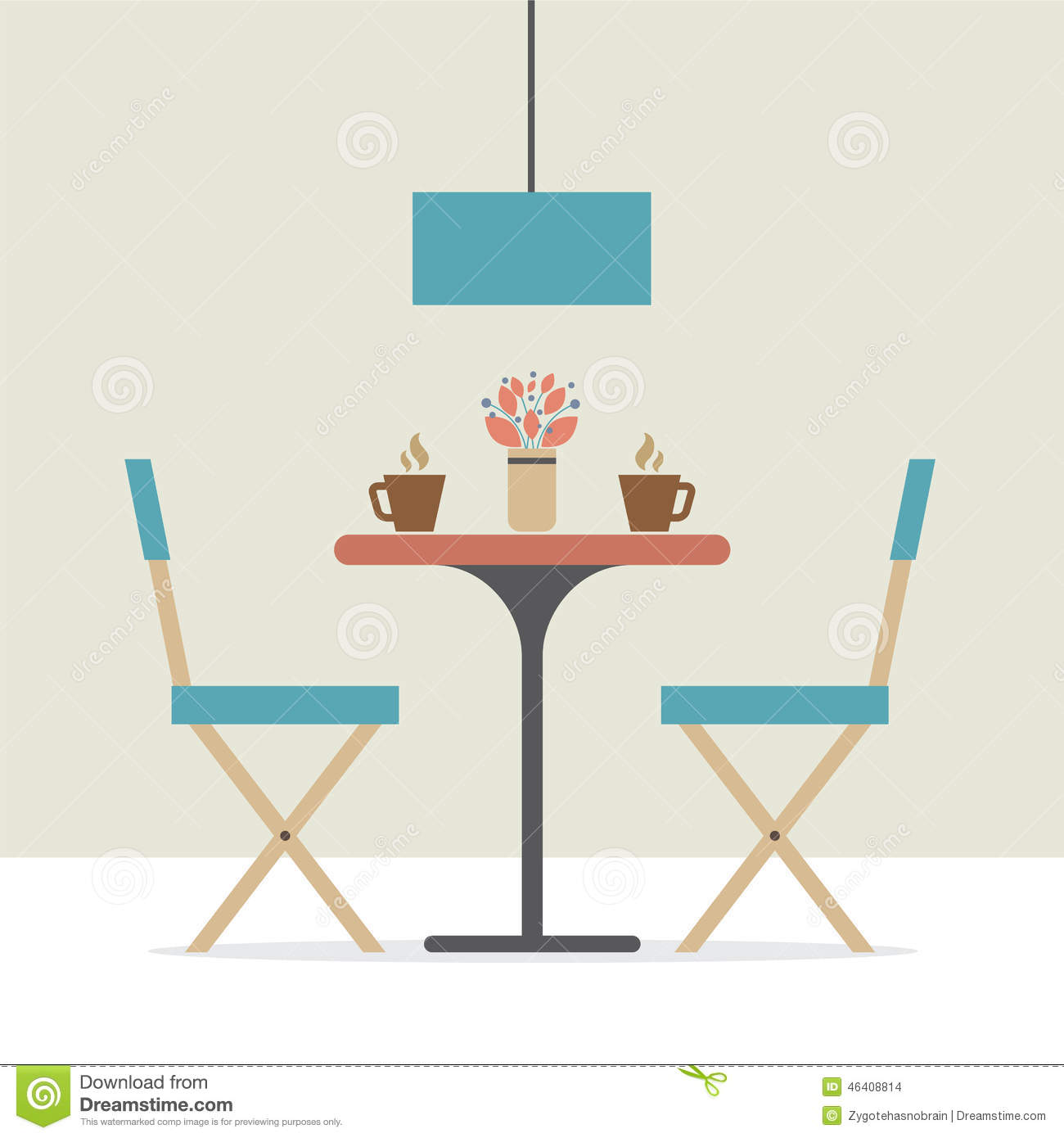 Flat design interior dining room stock vector image for Room design vector