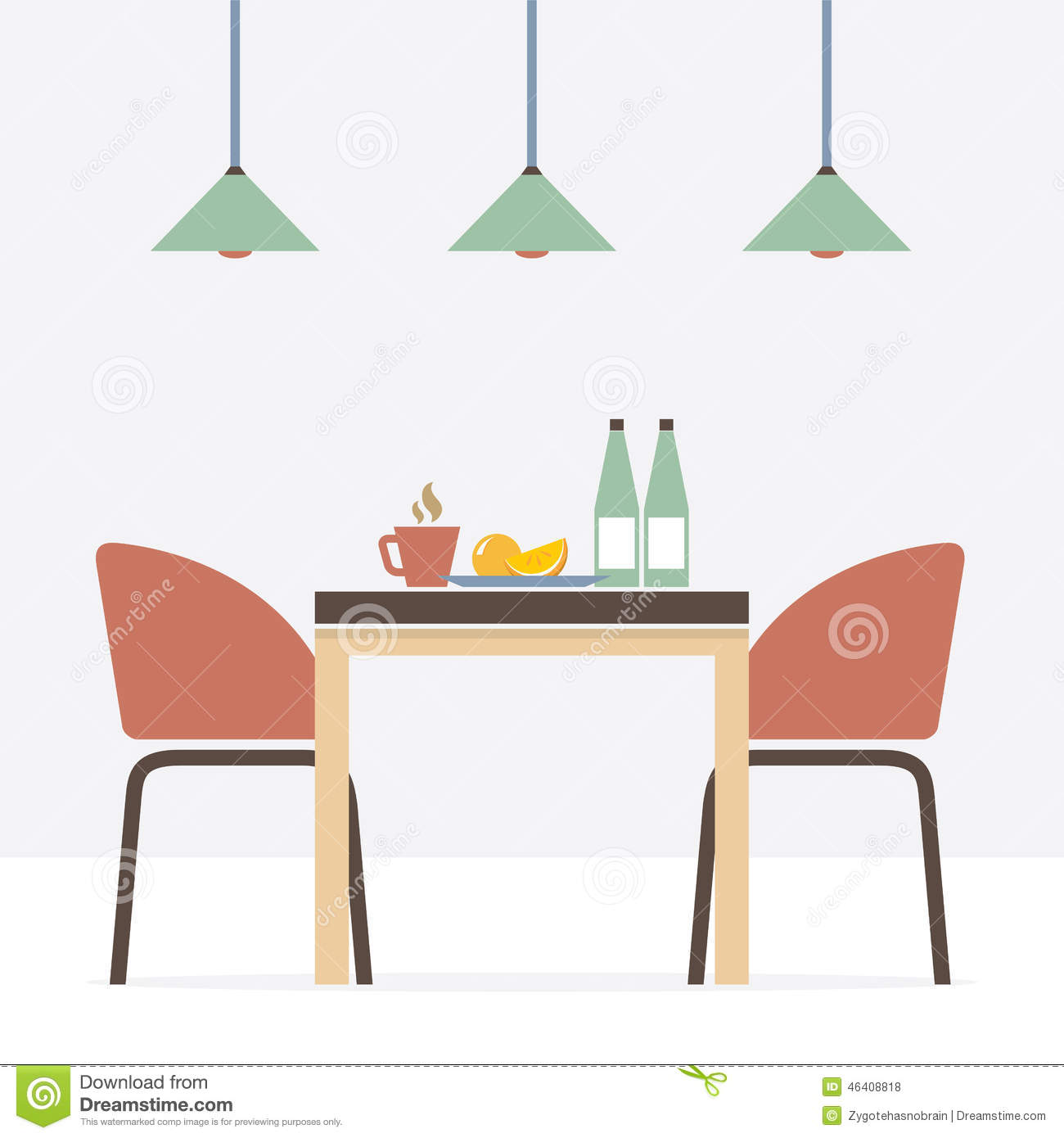 Flat design interior dining room stock vector for Room design vector