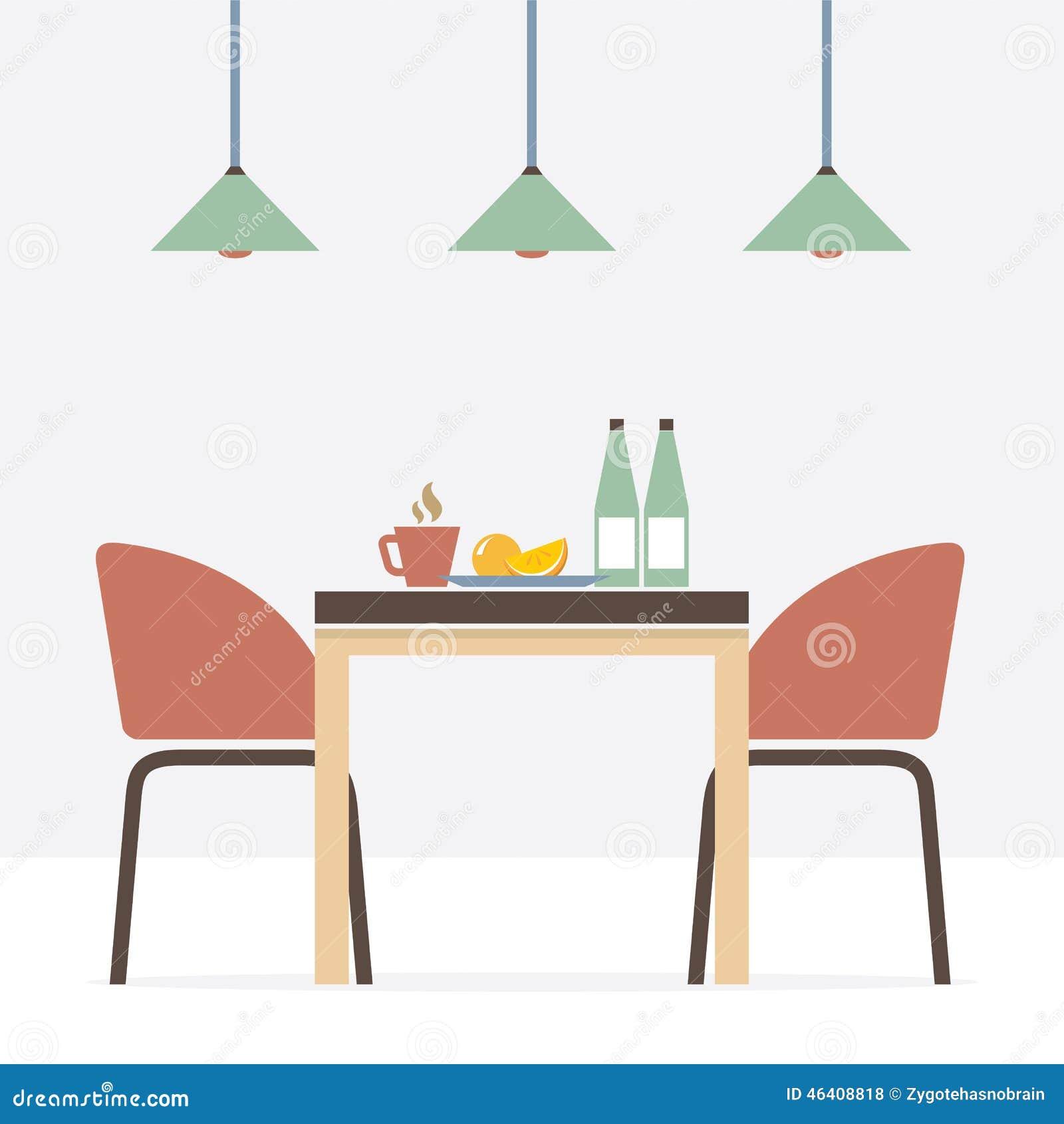 Flat Design Interior Dining Room Stock Vector