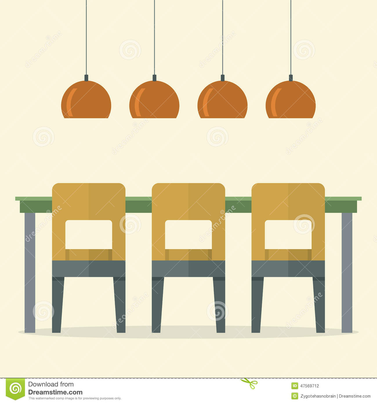 Flat design interior dining room cartoon vector for Room design vector