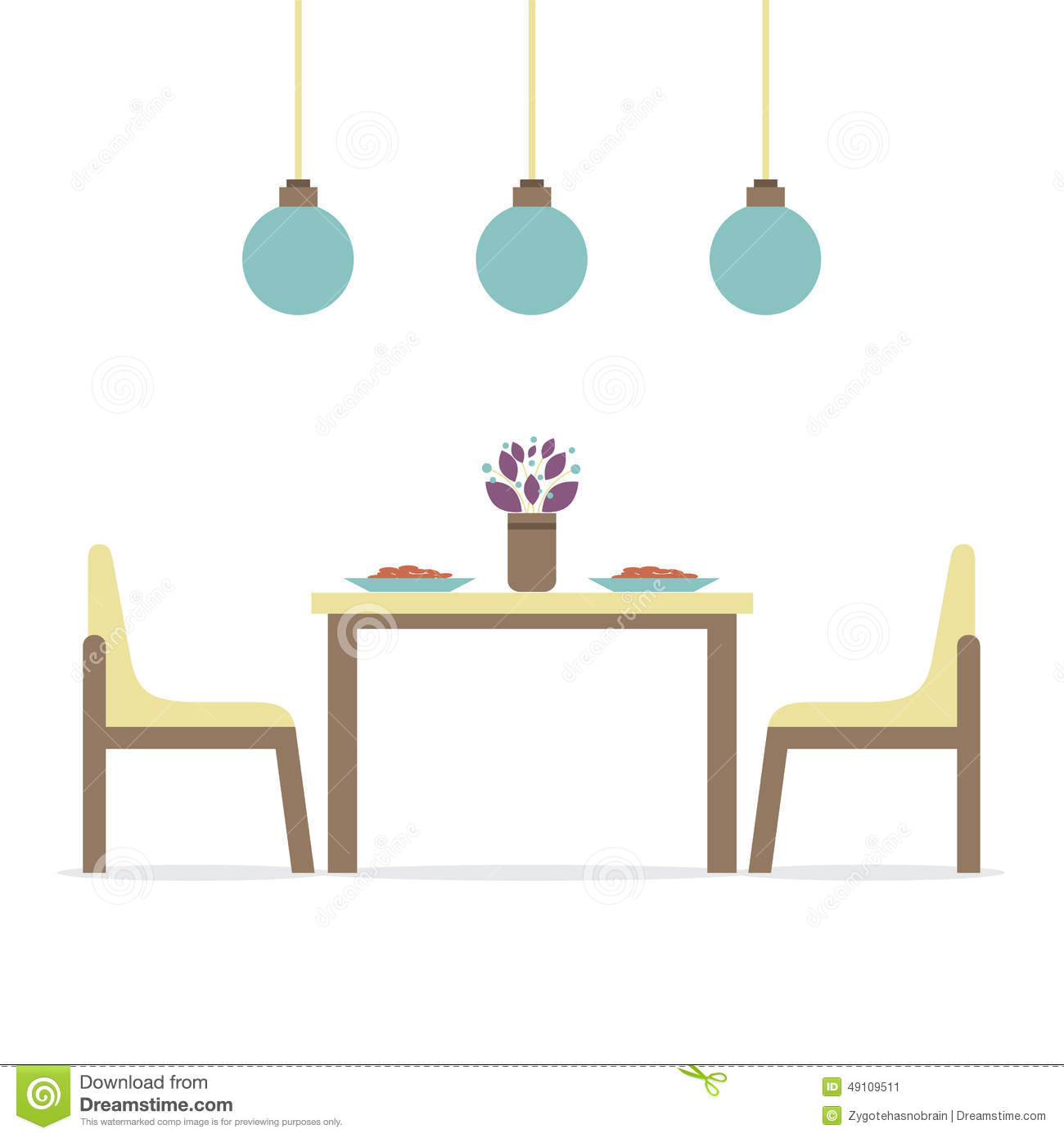 Flat Design Interior Dining Room Stock Vector Illustration Of Decoration Plate 49109511