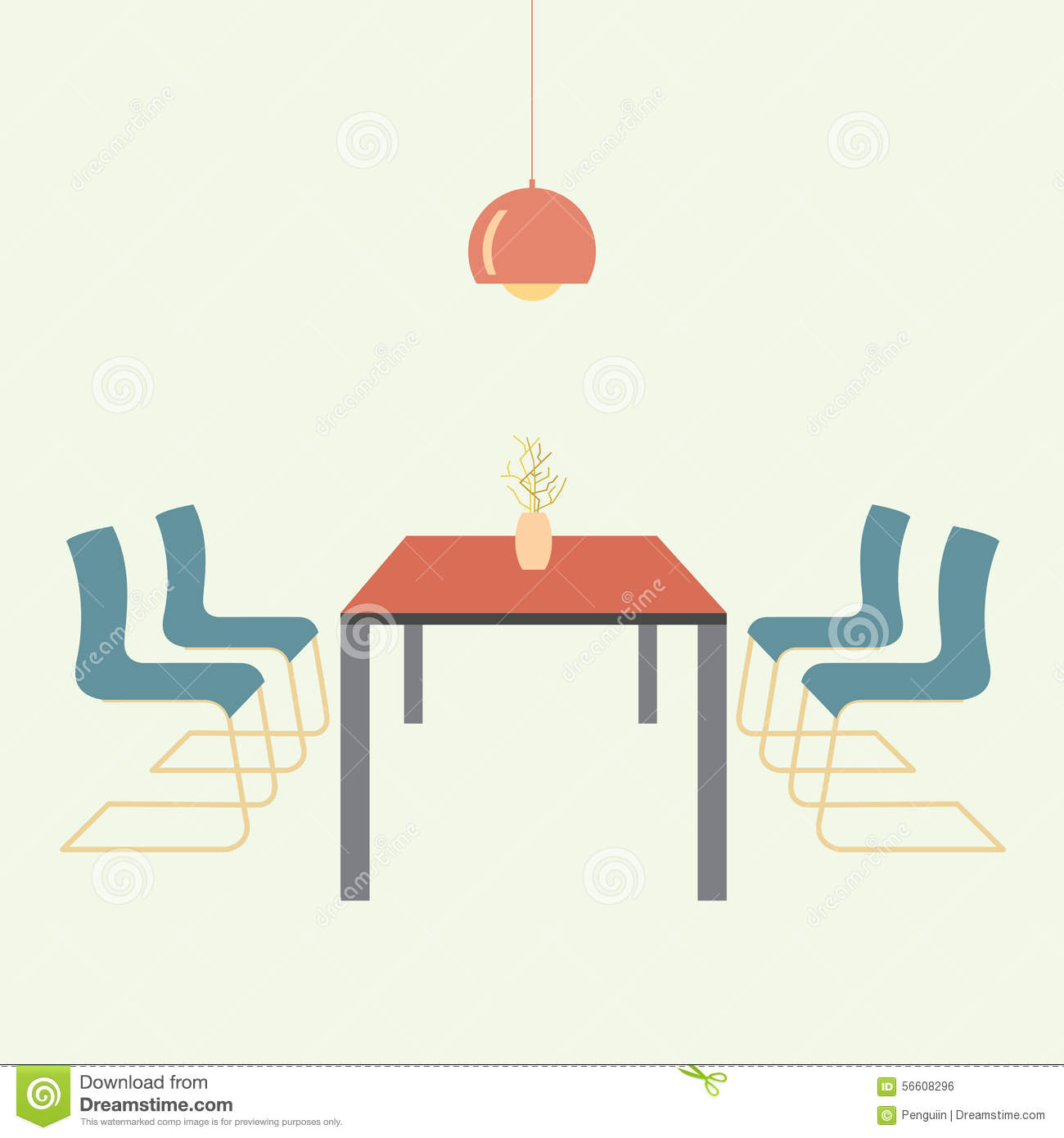 Restaurant Decoration Vector : Flat design interior dining room vector illustration stock