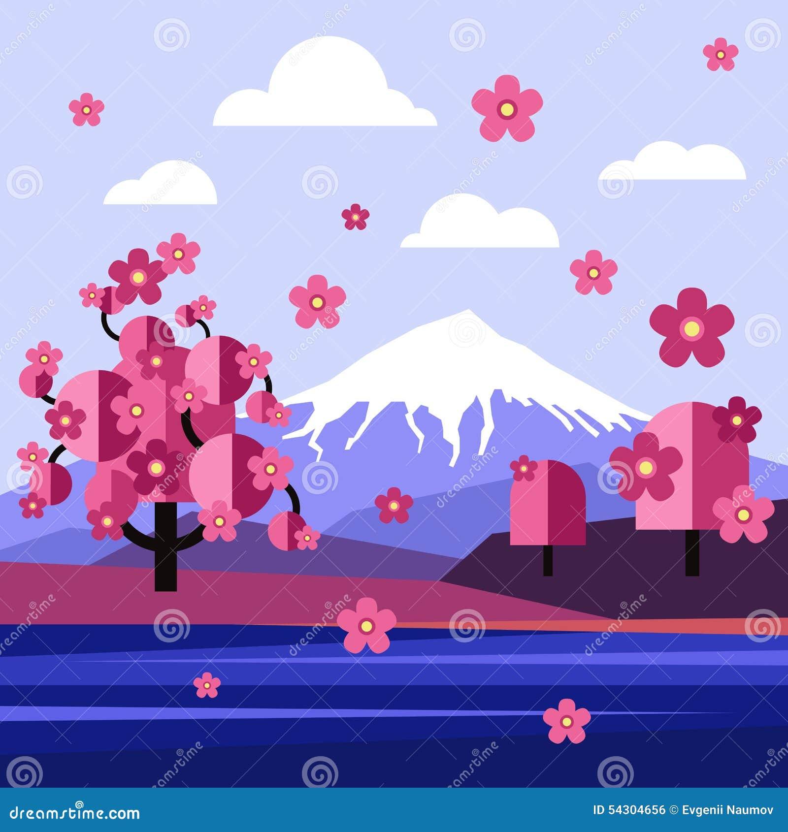 Landscape Illustration Vector Free: Flat Design Landscape Of Japan Vector Stock Vector