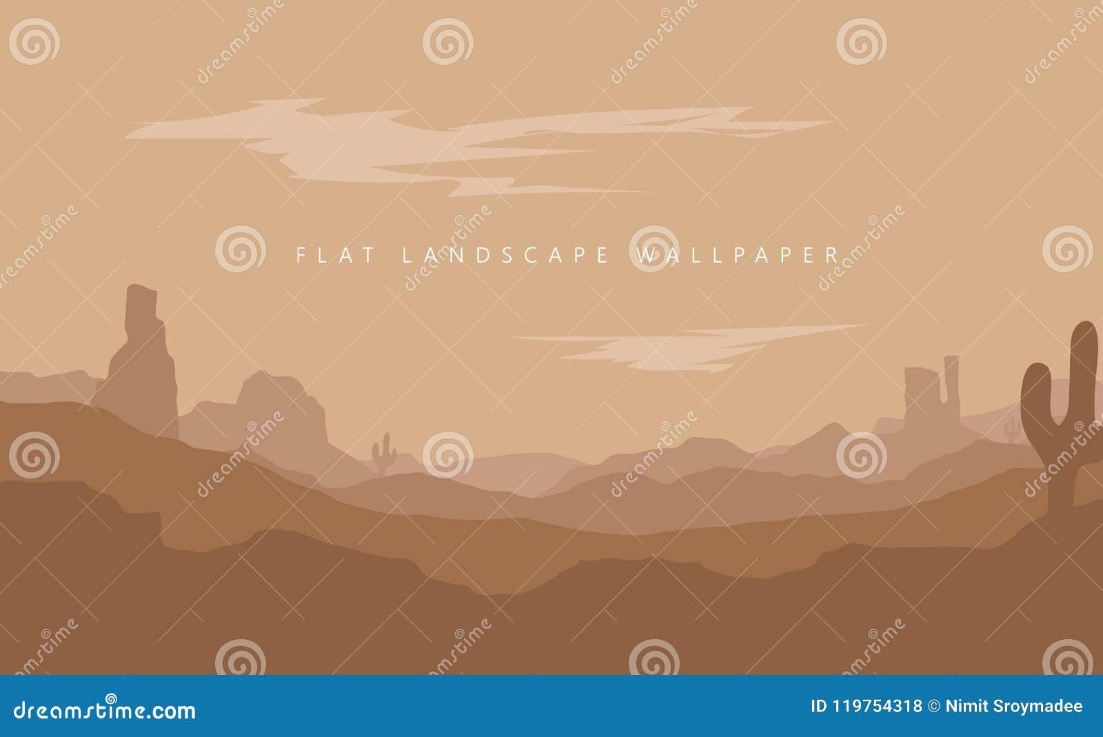 Flat Landscape Mountain Desert Background Vector Wallpaper Stock