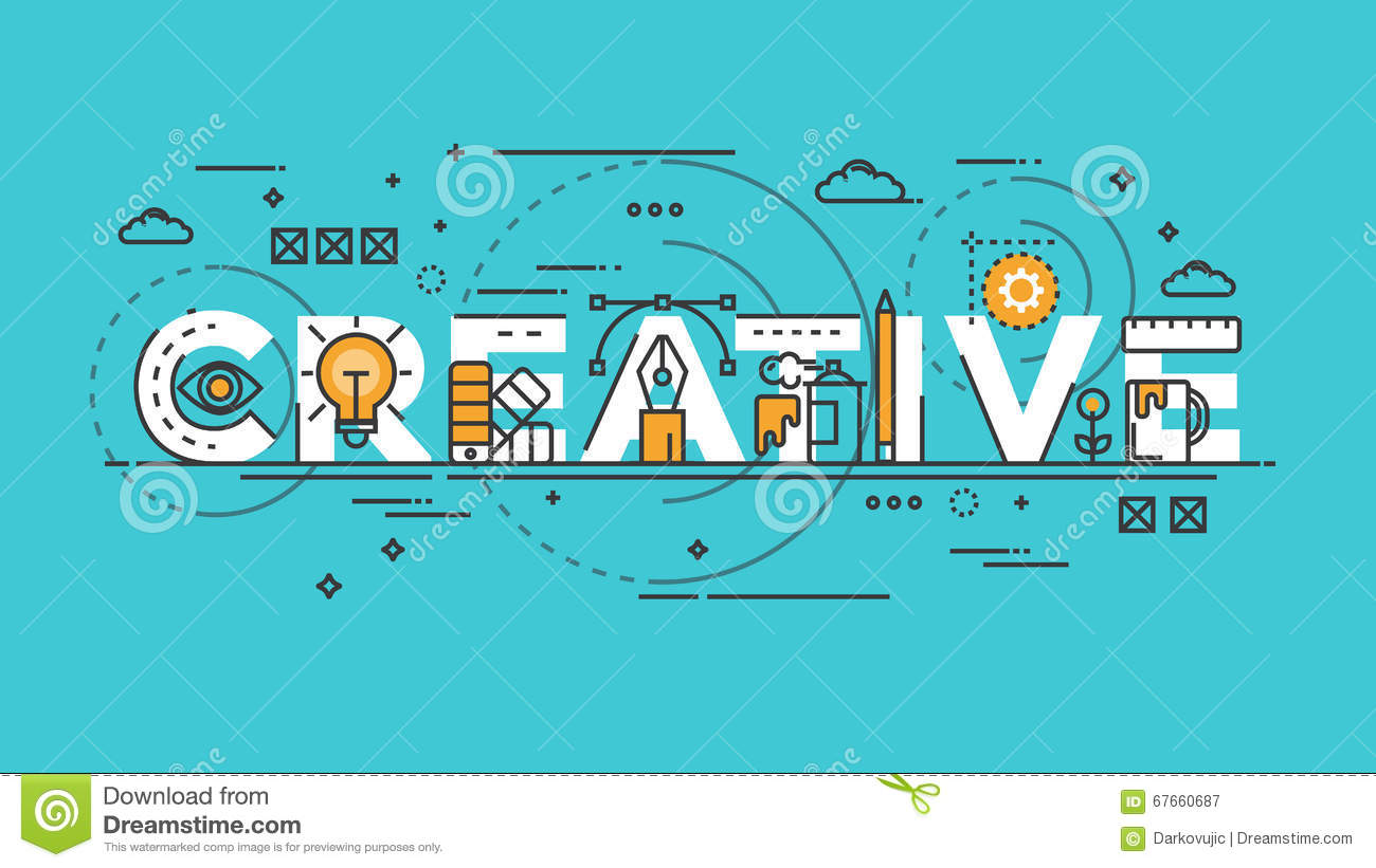 Flat Design Line Concept Creative Stock Vector