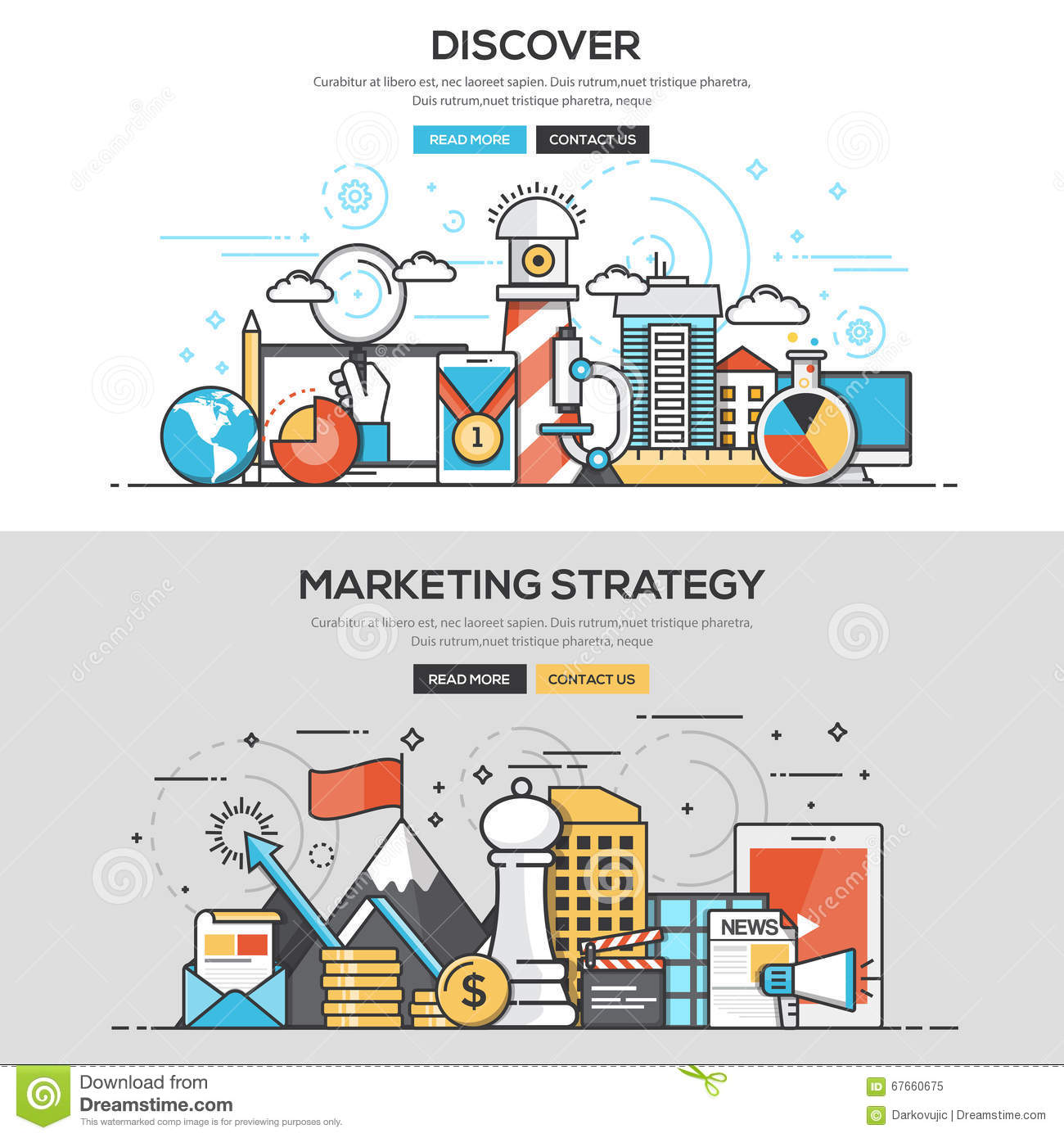 Flat Design Line Concept Discover And Marketing Strategy Stock Vector Illustration 67660675