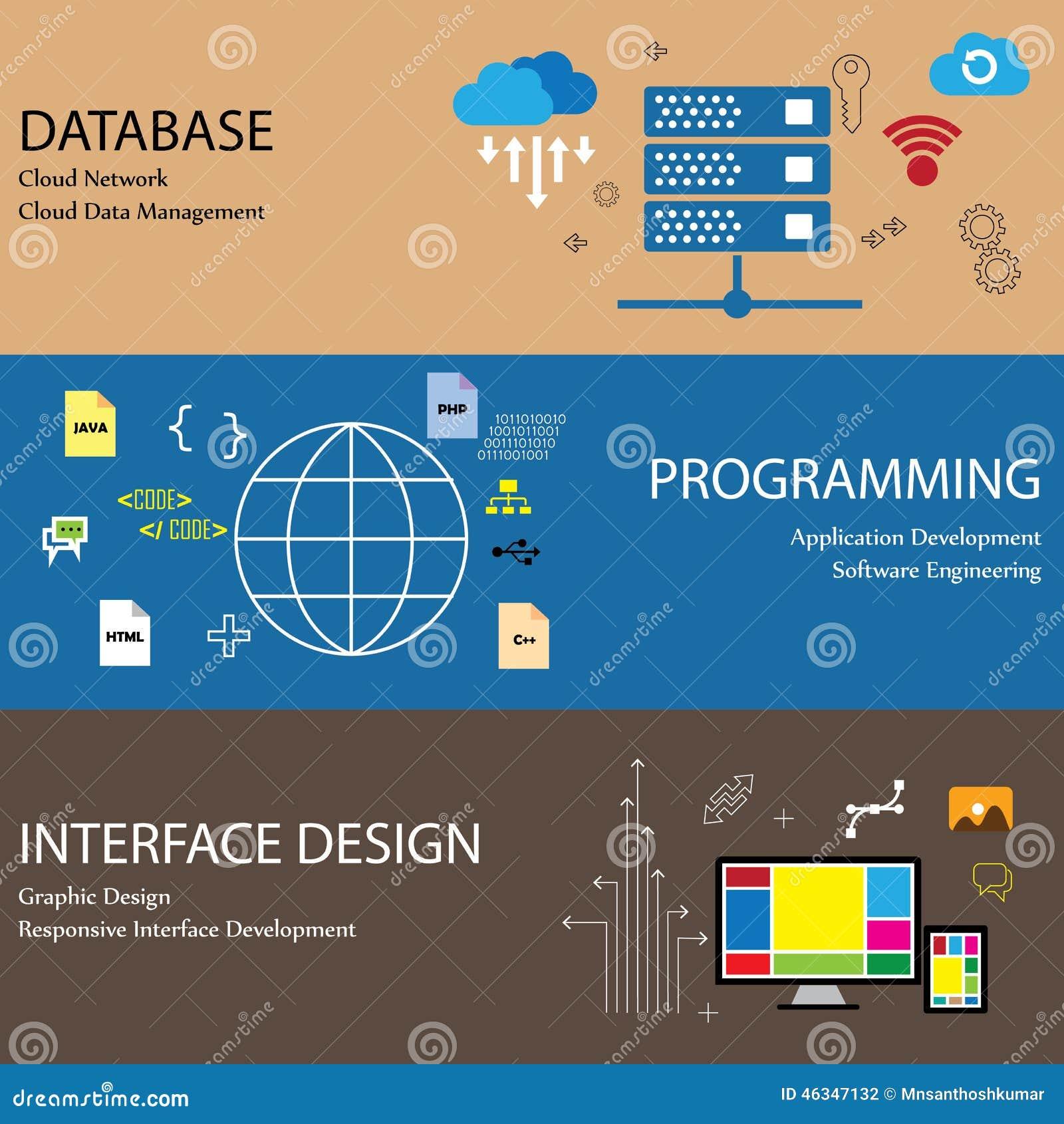 flat design line icons of concepts like database cloud network - Database Designer Software
