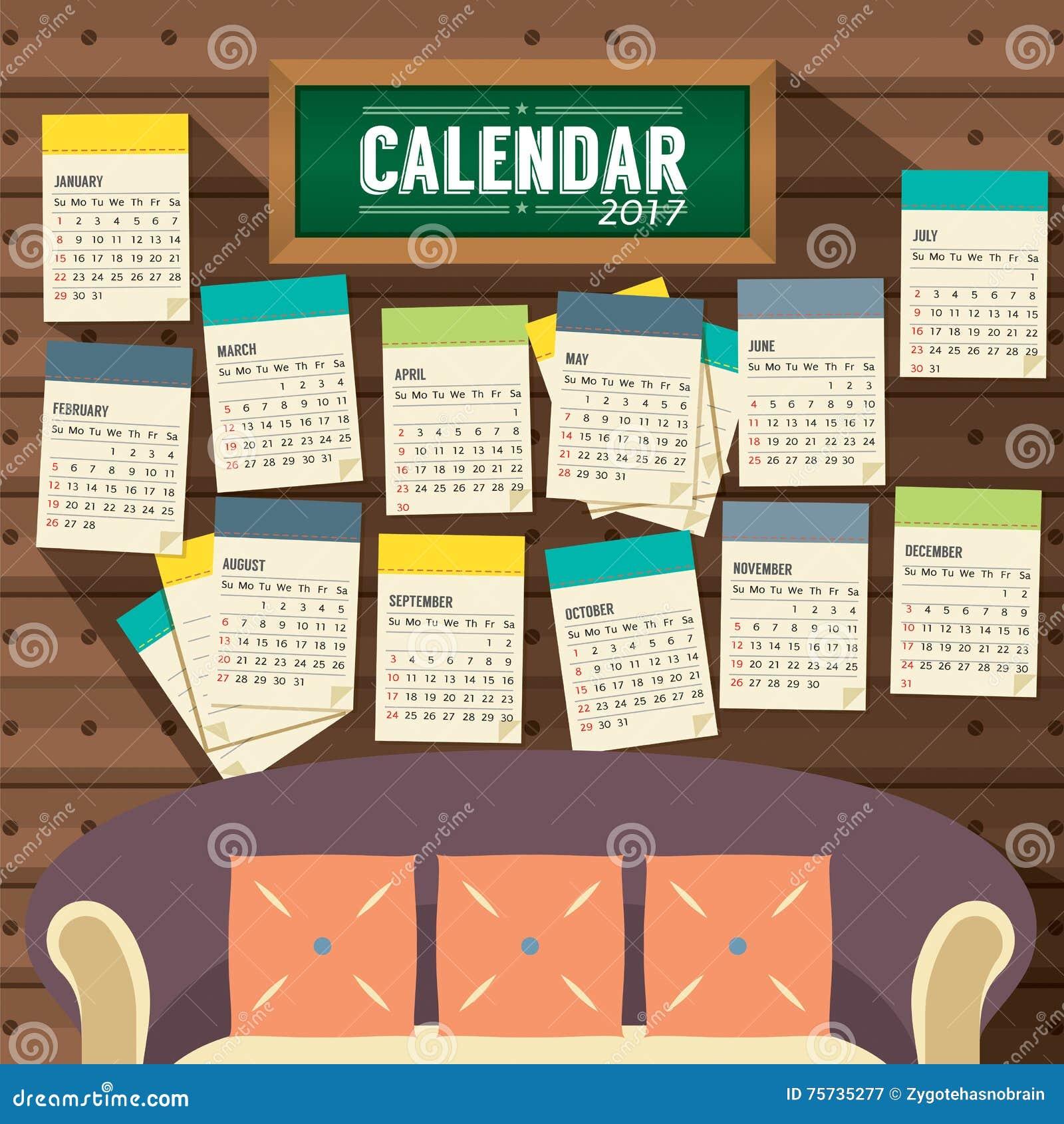 Calendar Flat Illustration : Flat design living room printable calendar starts