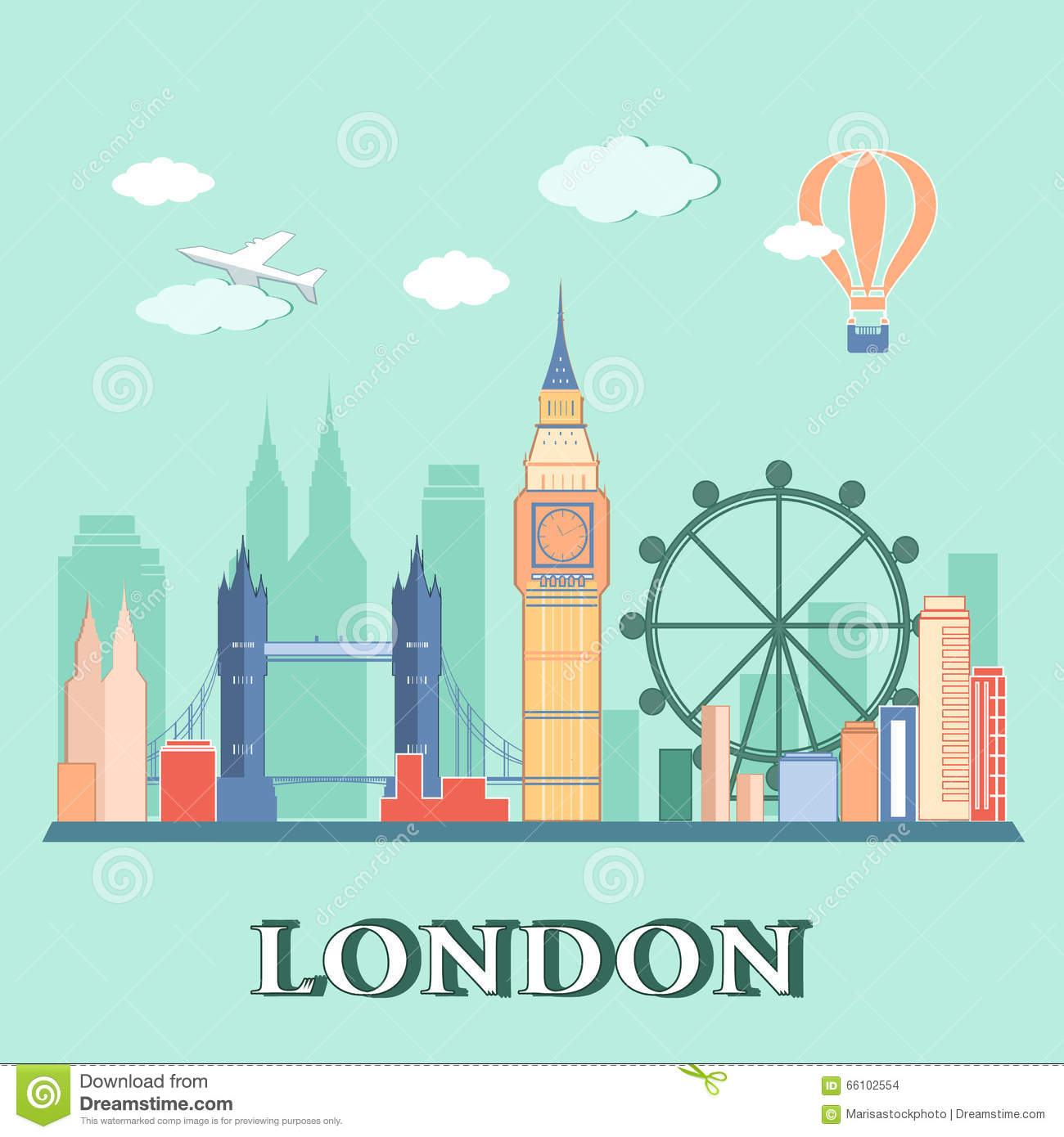 Flat Design London City Landscape. Vector Illustration