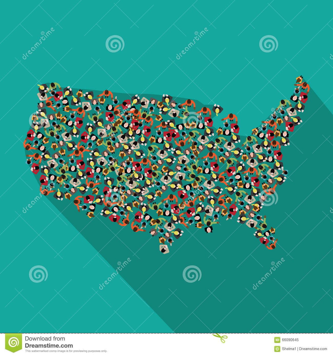 Flat Design Map Of The United States Stock Vector Image - Flat us map
