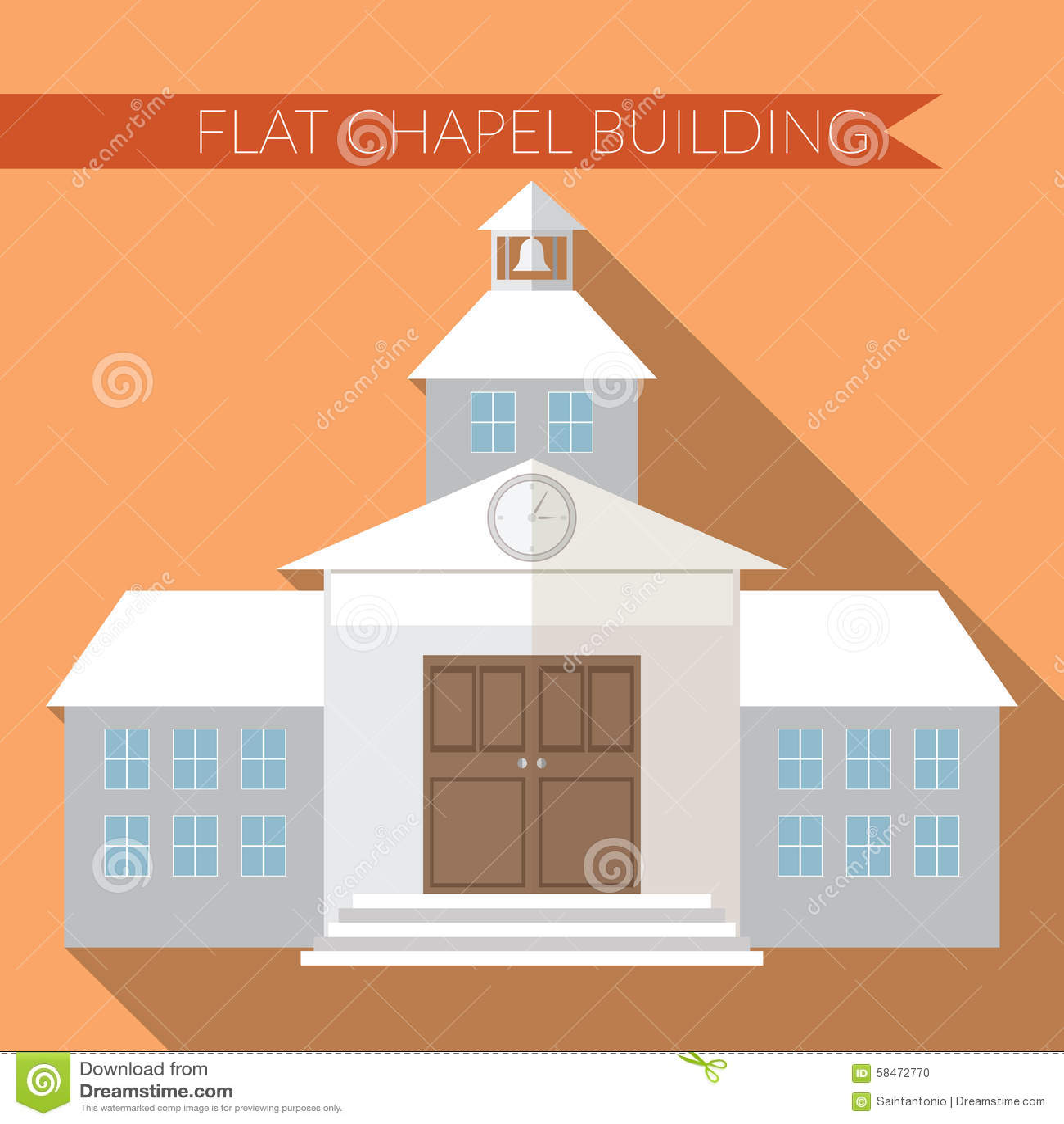 flat design modern vector illustration of chapel or wedding church