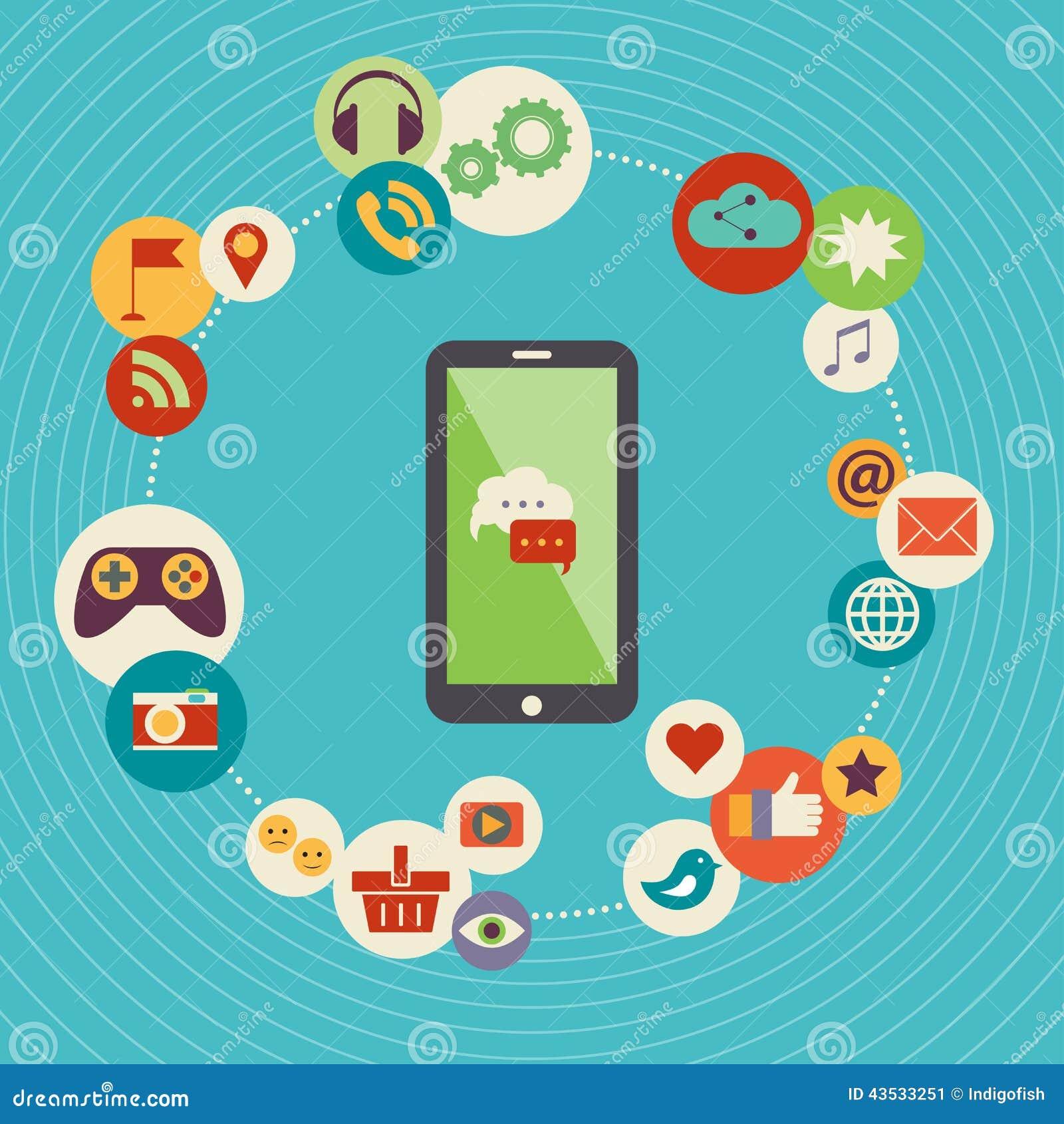 Flat Design Modern Vector Illustration Concept Of Social Media Stock ...