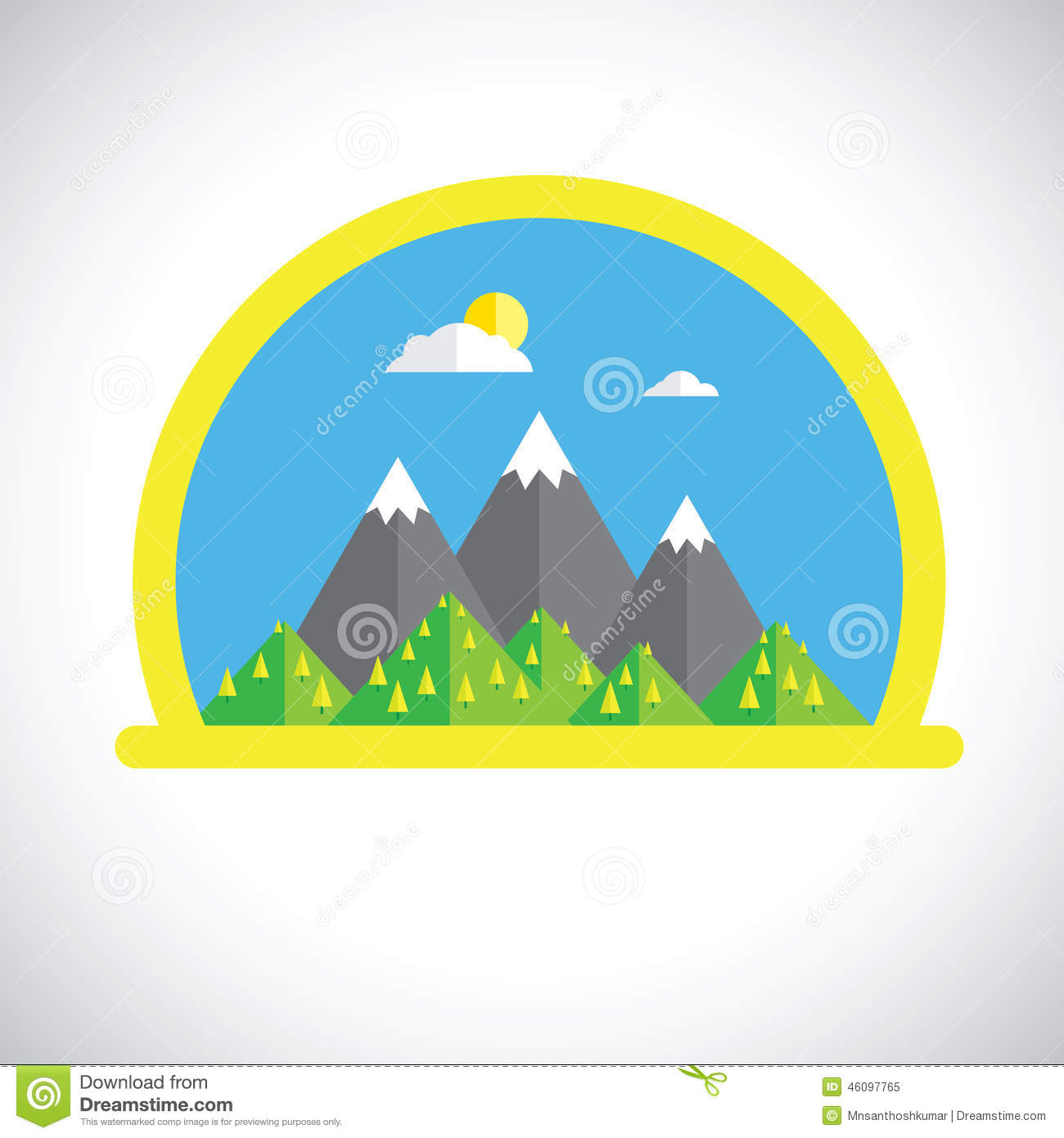 Nature Images 2mb: Flat Design Nature Landscape With Sun, Mountains & Clouds