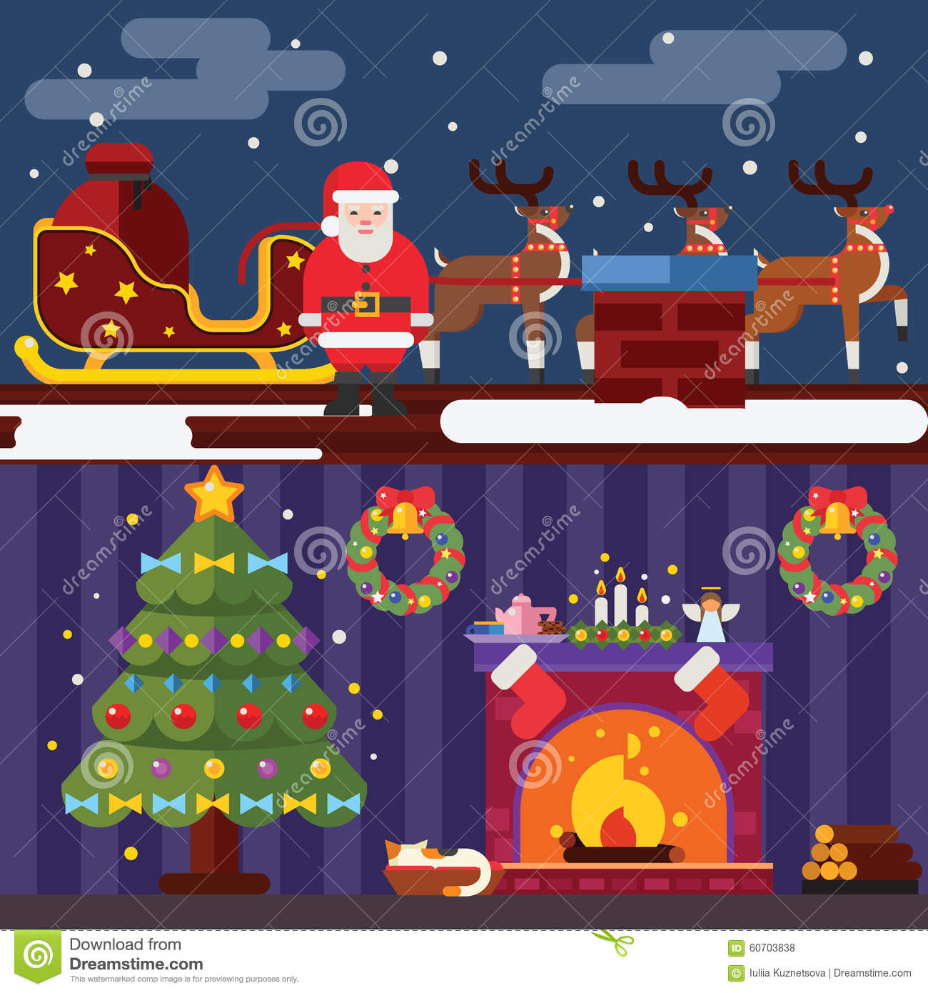 Flat design new year landscape and room situation symbols christmas flat design new year landscape and room situation symbols christmas accessories icons greeting card elements trendy modern kristyandbryce Gallery