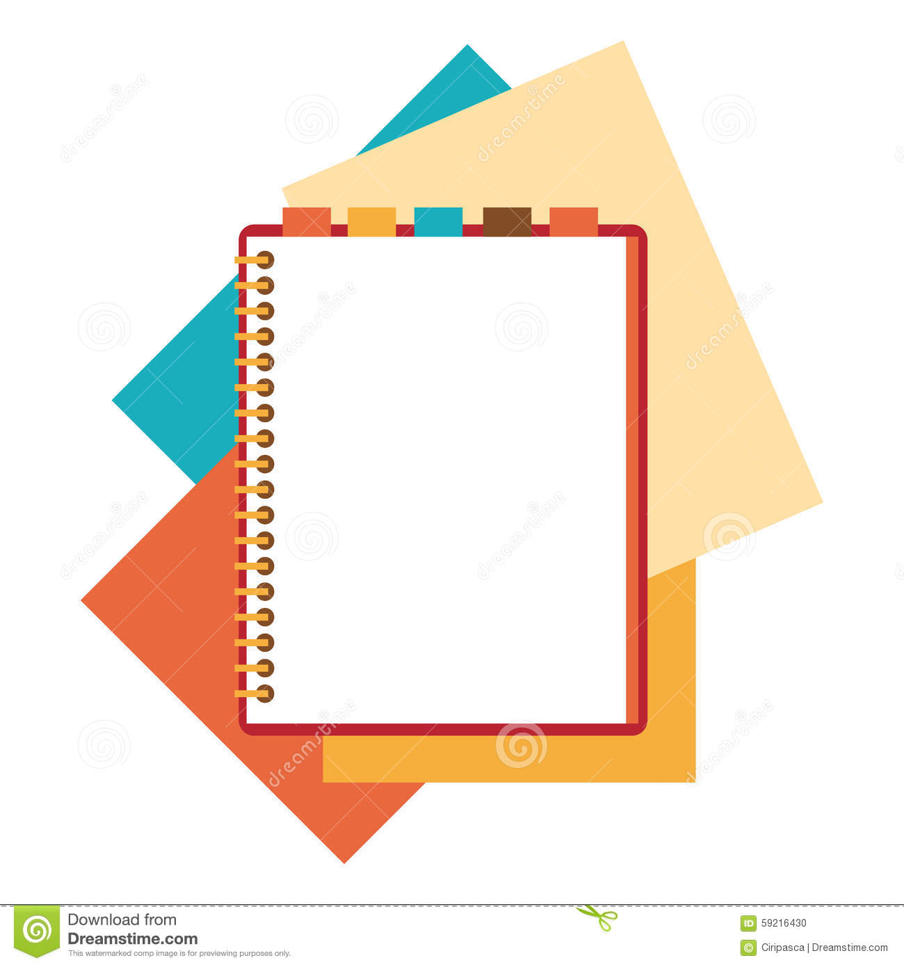 Flat Design Notepad With Paper Sheets Stock Vector