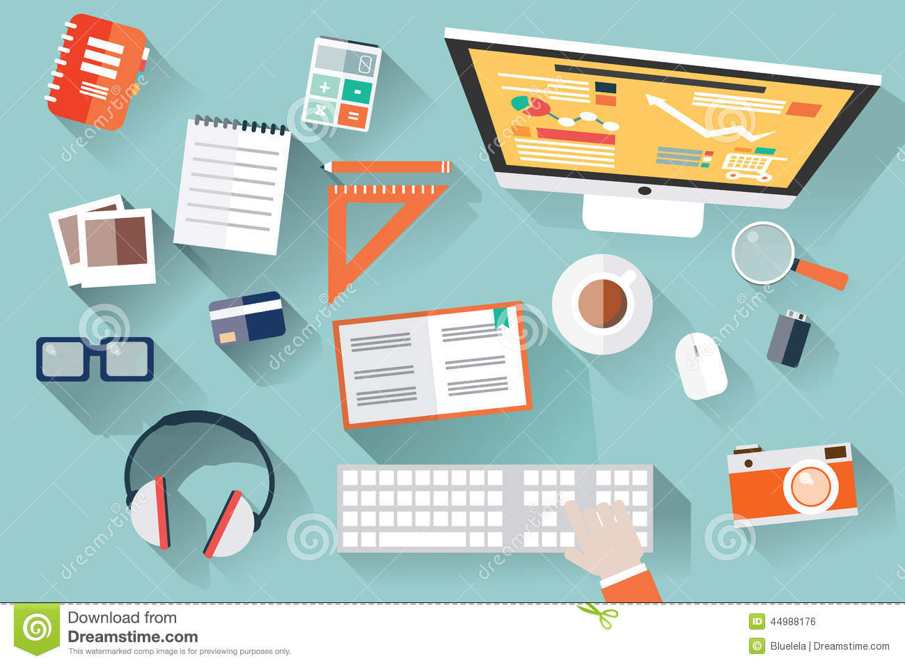 Flat design objects work desk long shadow office desk for Table flat design