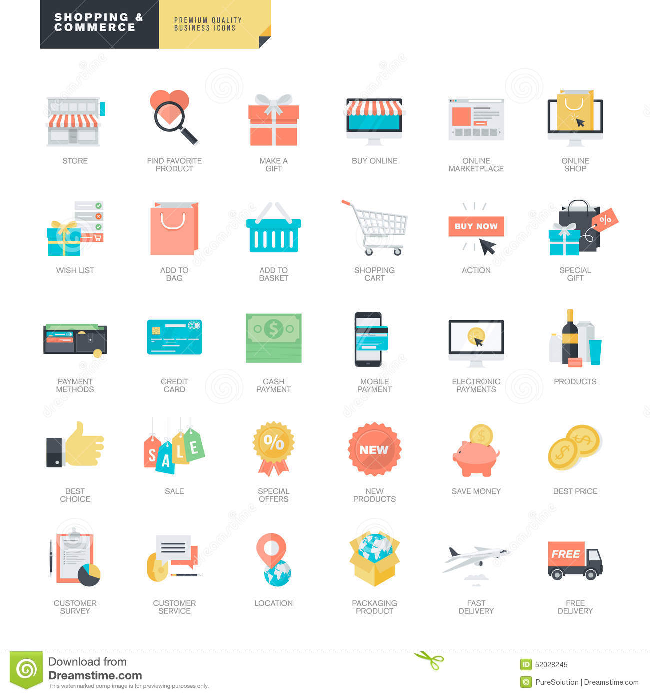 Flat design online shopping and e commerce icons for for Website design for online shopping