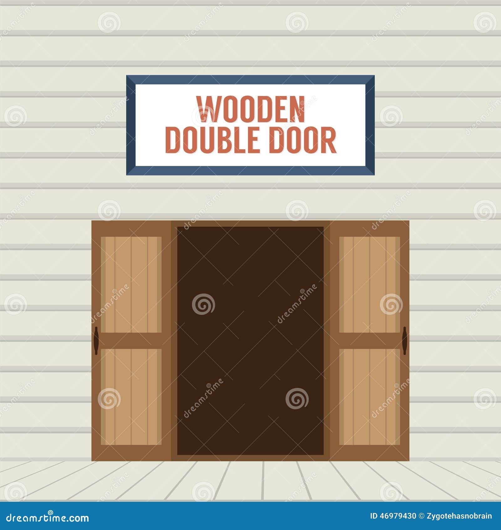 open double door drawing. Flat Design Open Wooden Double Door Drawing O