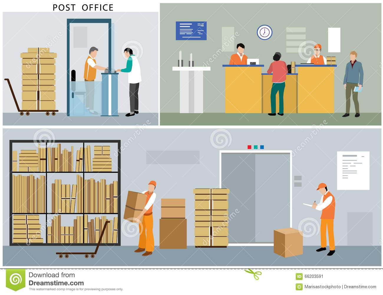 Flat design of post office service office workers for Architecture poste a poste
