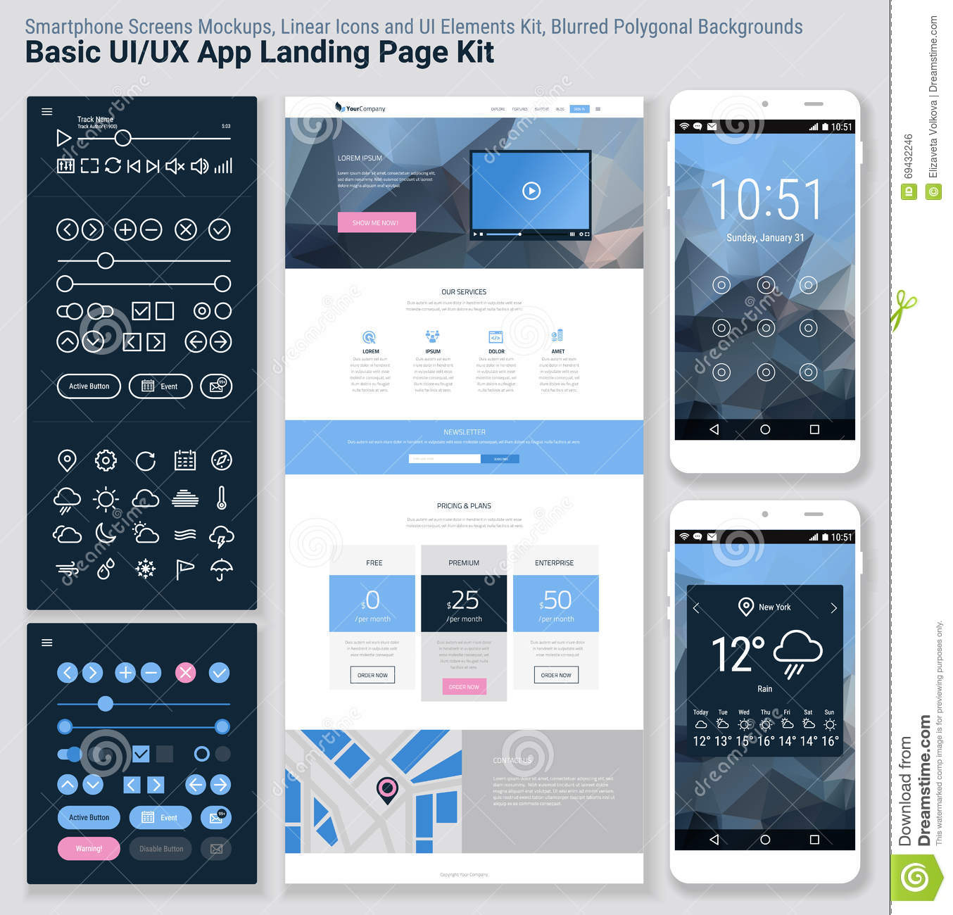 Basic Site Map Example: Flat Design Responsive Pixel Perfect UI Mobile App And