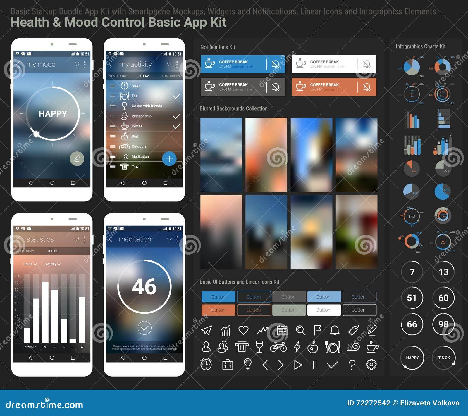 Flat Design Responsive Ui Mobile App And Website Template Stock