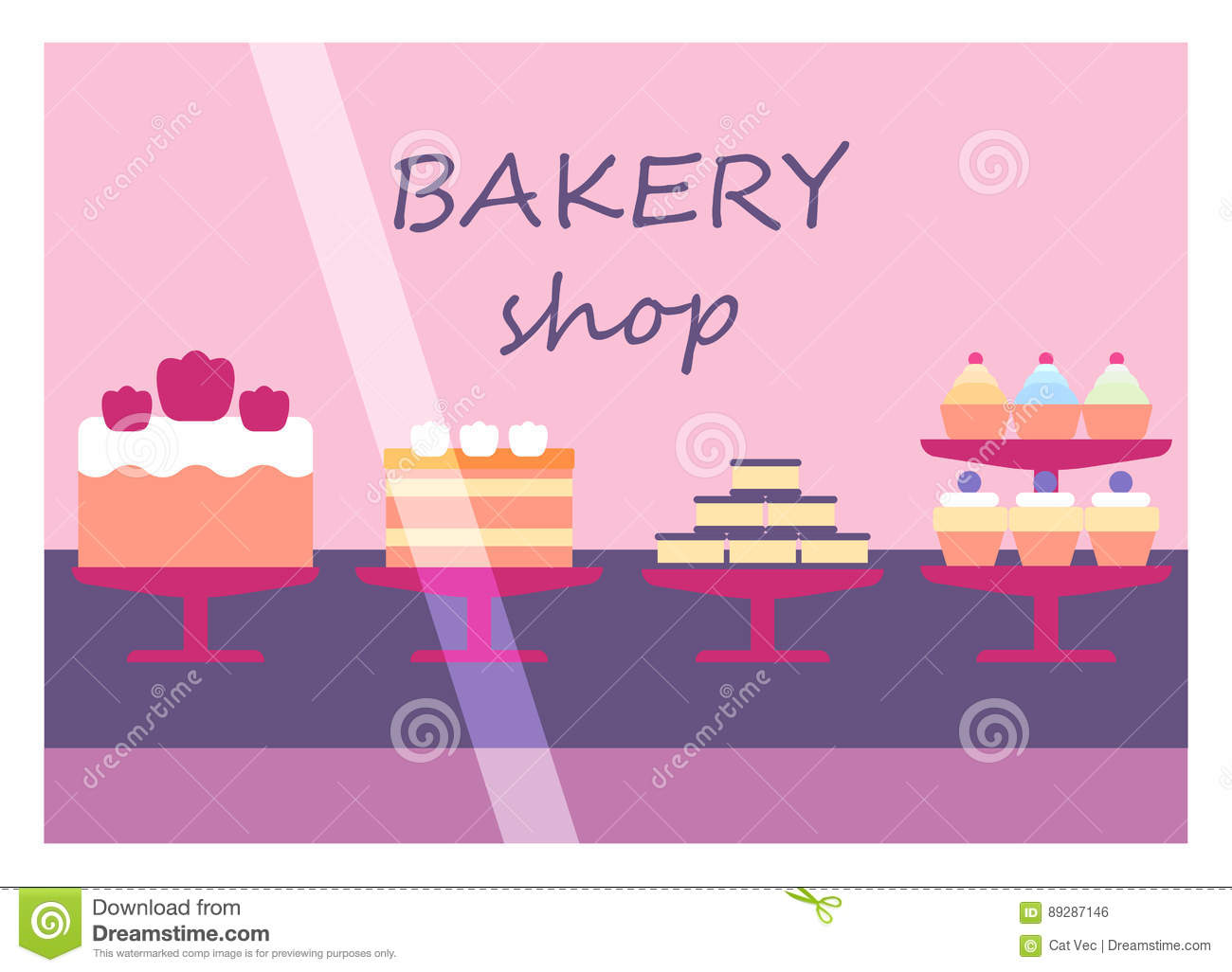 Flat Design Restaurant Bakery Shop Facade Icon Store Modern Awning Architecture Window Exterior And Market Front Urban Stock Vector Illustration Of Cupcake Cake 89287146