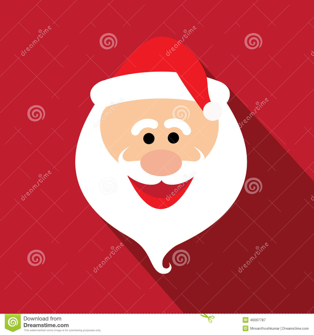 flat design santa claus face with happy and funny emotions - vector graphic design